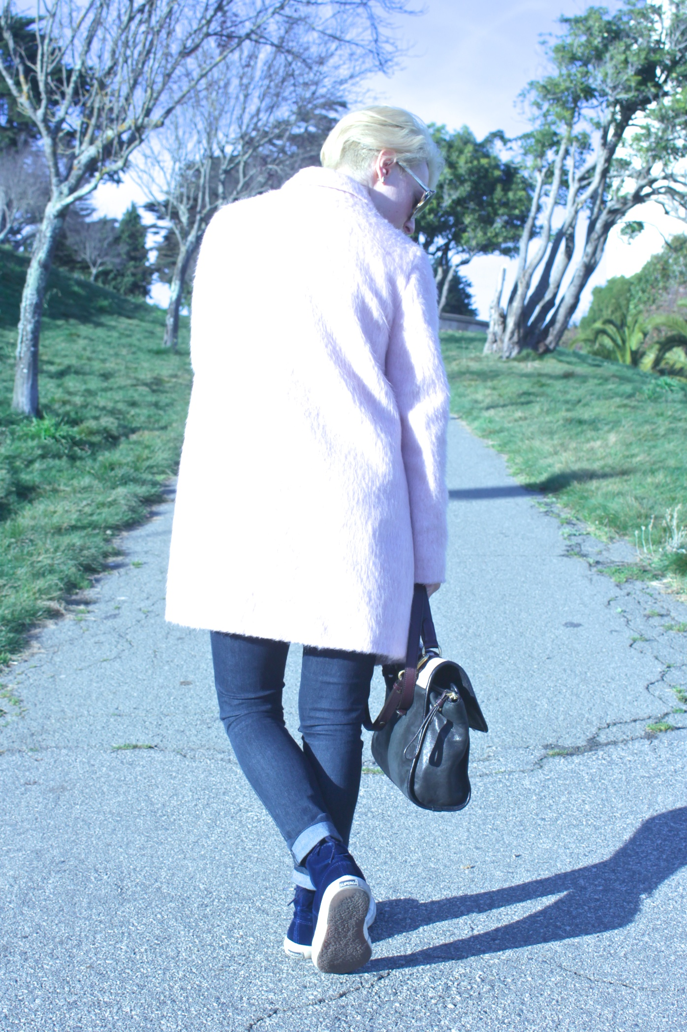 """Coat:  Topshop , Blouse: Nordstrom, Jeans: James Jeans, Shoes: Superga x Man Repeller, Bag: Marc by Marc Jacobs, Necklace: Forever21, Sunglasses: Tom Ford """"Carrie"""""""