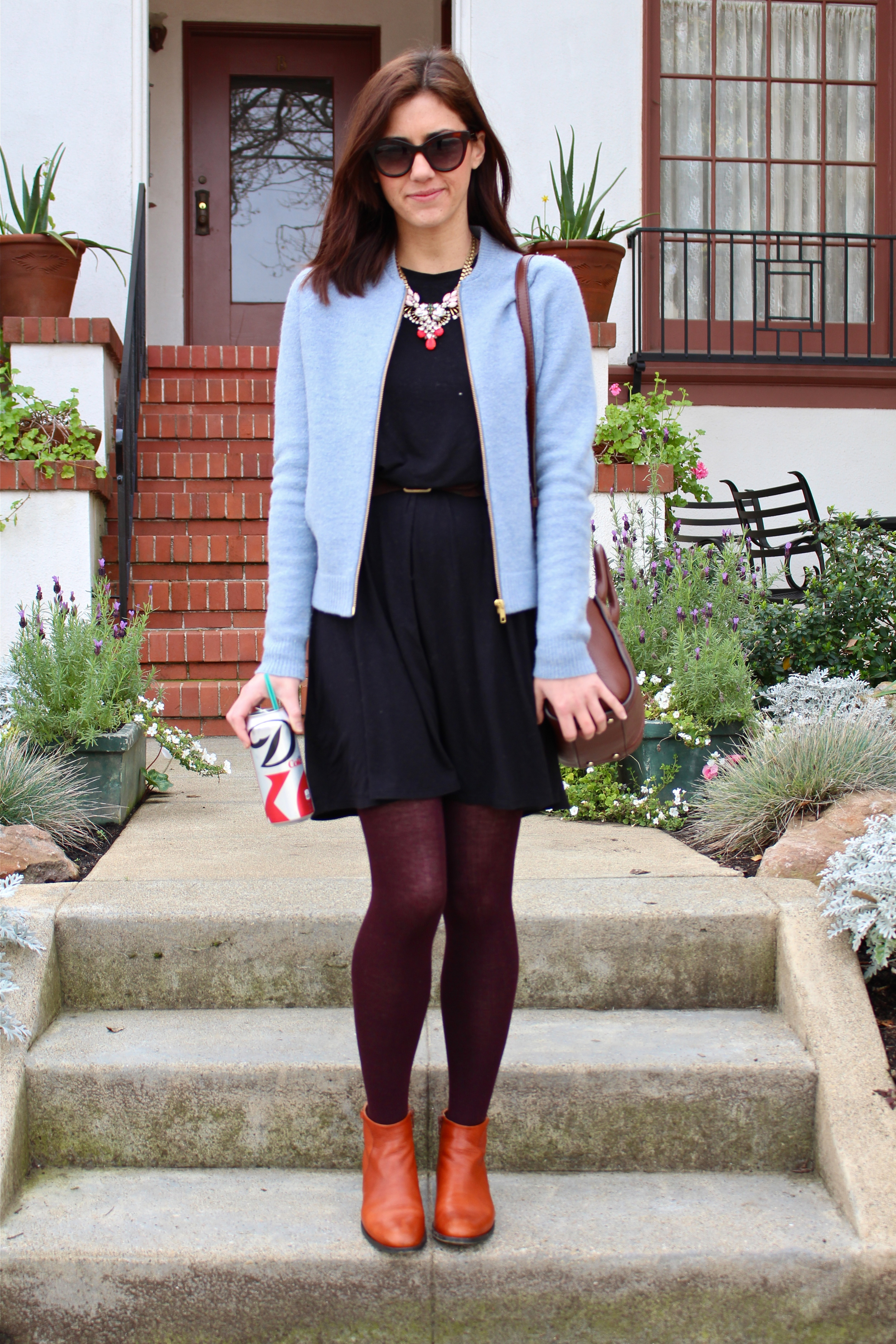 Jacket : J.Crew; Dress: BCBG, Morning Glory; Tights: Forever21; Marly Low Heel Bootie: Coclico; Bag: Kate Spade; Glasses: Marc by Marc Jacobs; Necklace: J.Crew
