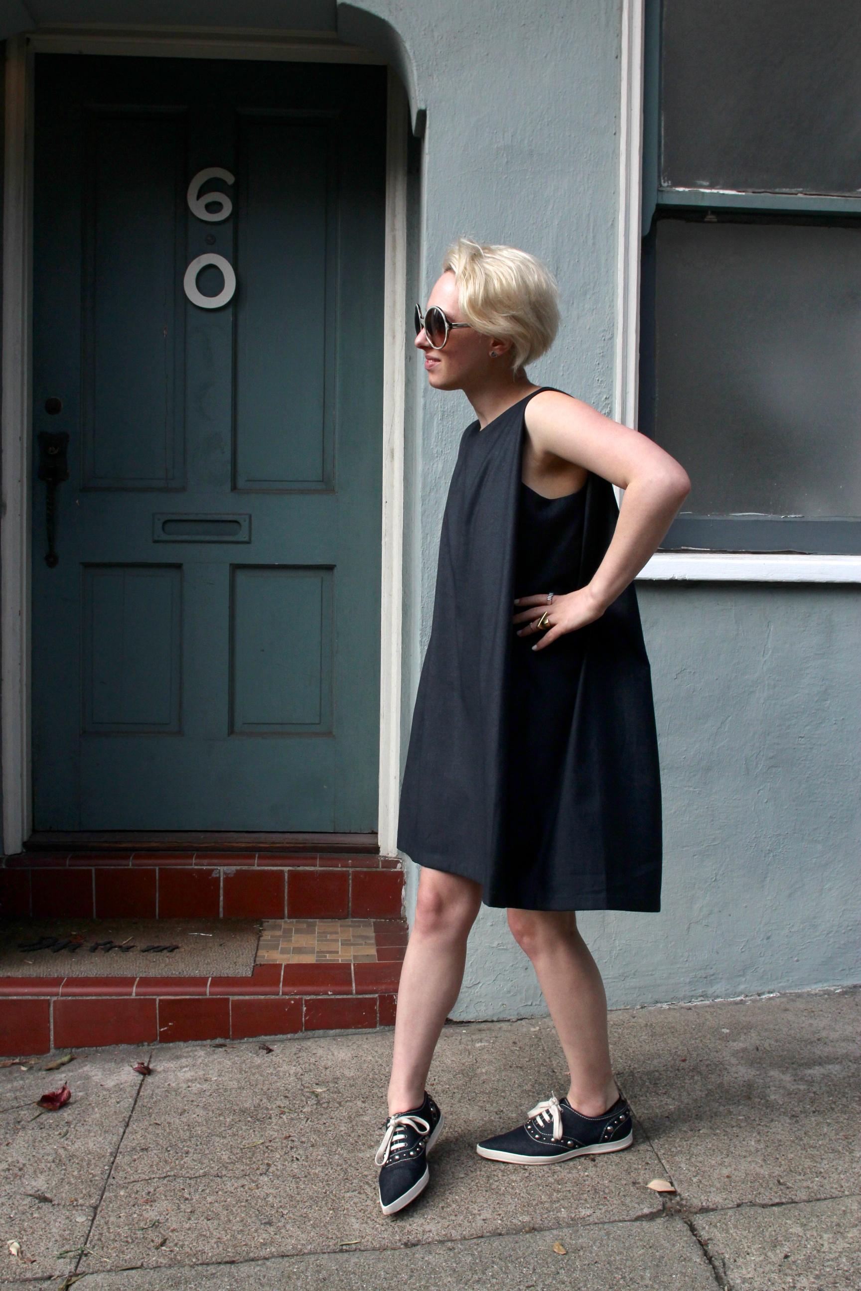 "Dress:  Kaarem  via  Legion , Sneakers:  Marc Jacobs , Sunglasses:  Tom Ford ""Carrie"" , Silver Stacking Rings:  Legion"