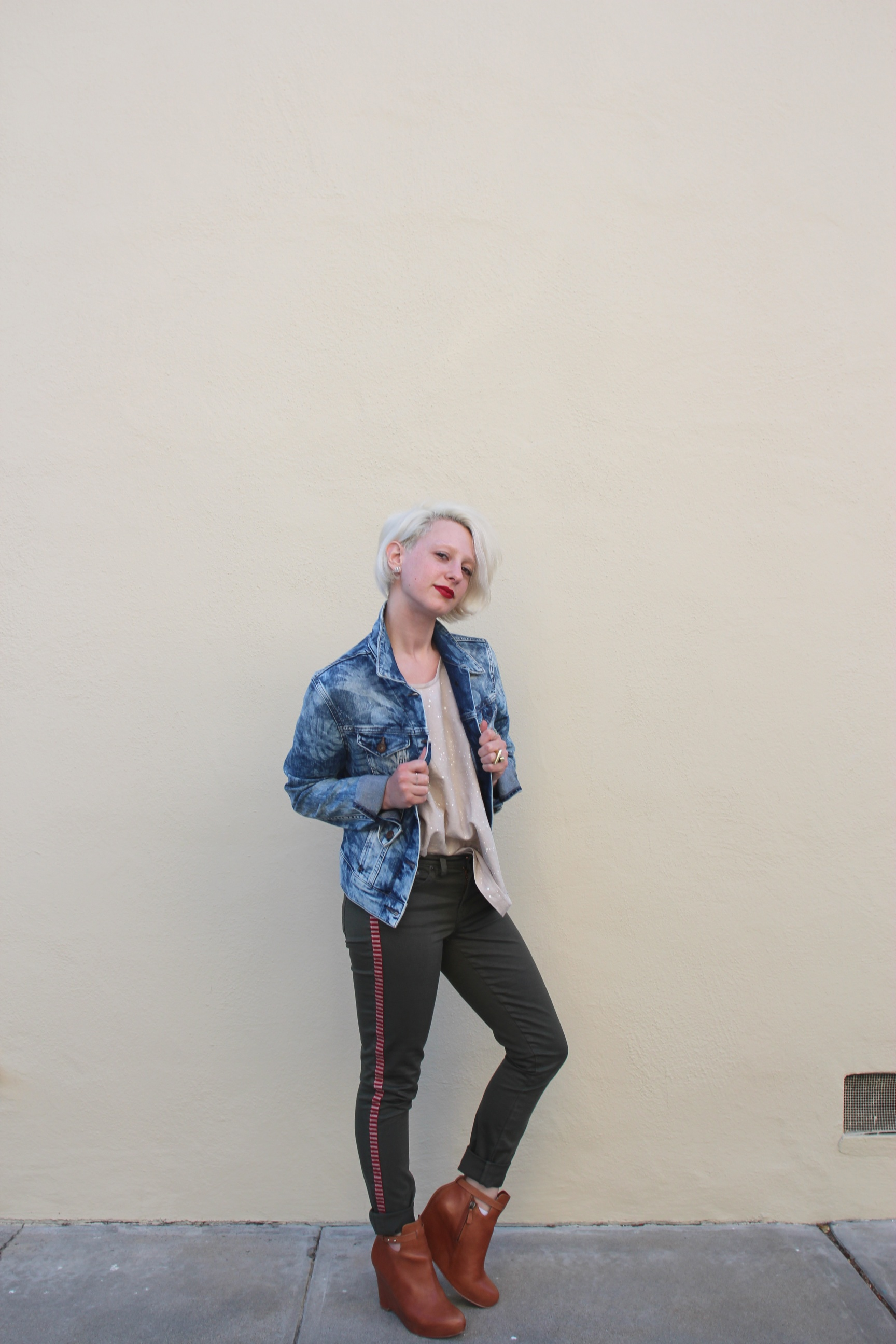 Jacket:  Mavi Denim  via  Stitch Fix , Pants:  J. Crew , Top: Evens via  Legion SF , Shoes: Elizabeth and James