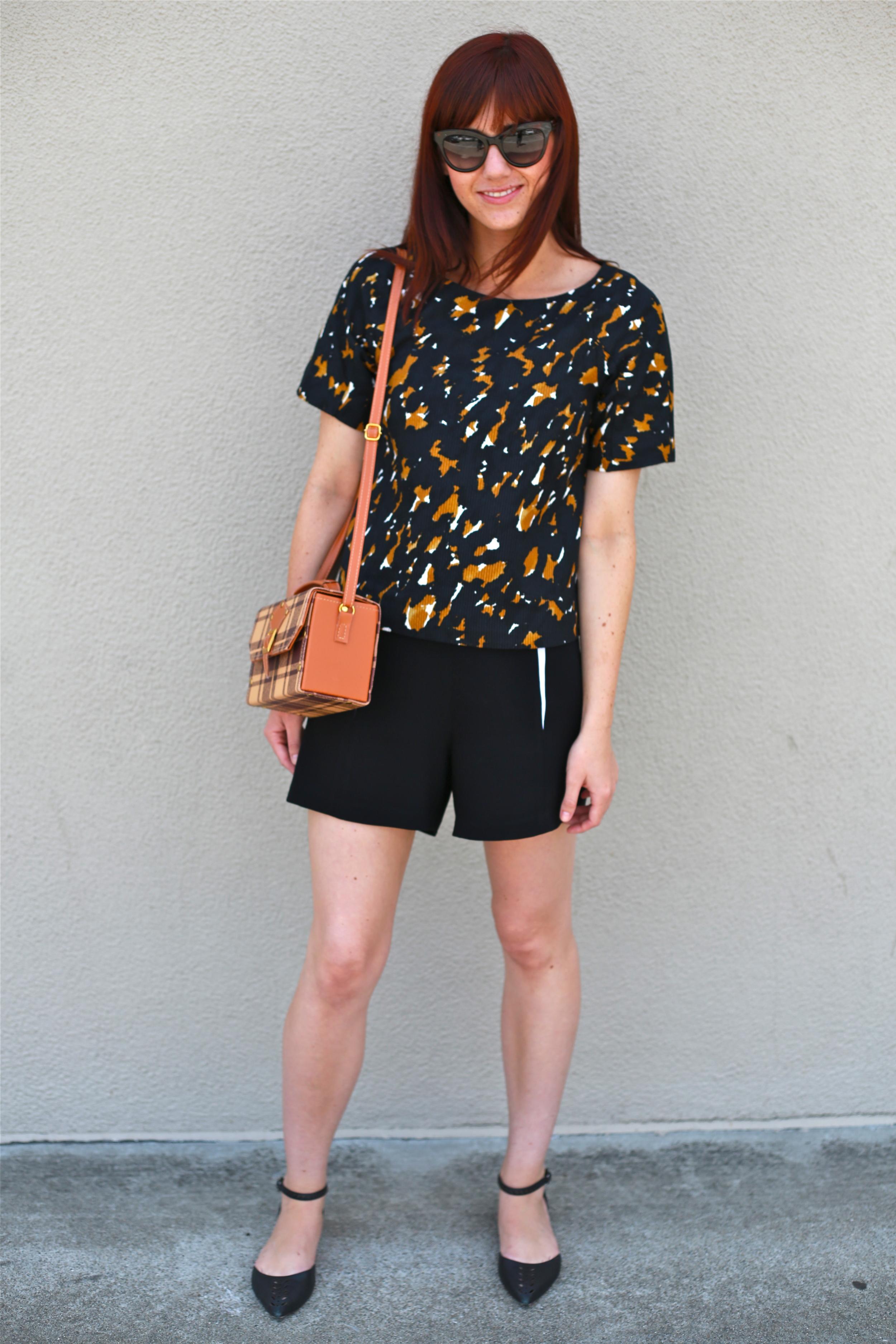 Shirt : Jigsaw London;  Florencia Shorts : Rag & Bone, Loft; Flats: Via Spiegel, Nordstroms Rack; Sunnies: Marc by Marc Jacobs