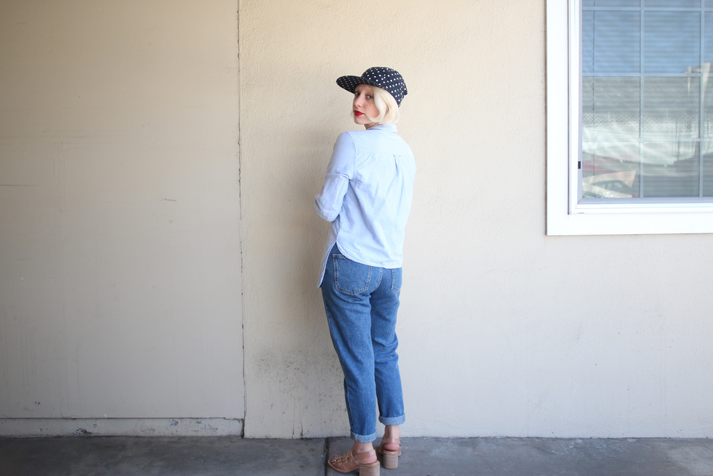 "Top: H&M, Jeans:  Topshop ""Mom Jean"" , Hat: Fair Ends via  The Podolls , Shoes: F-Troupe"
