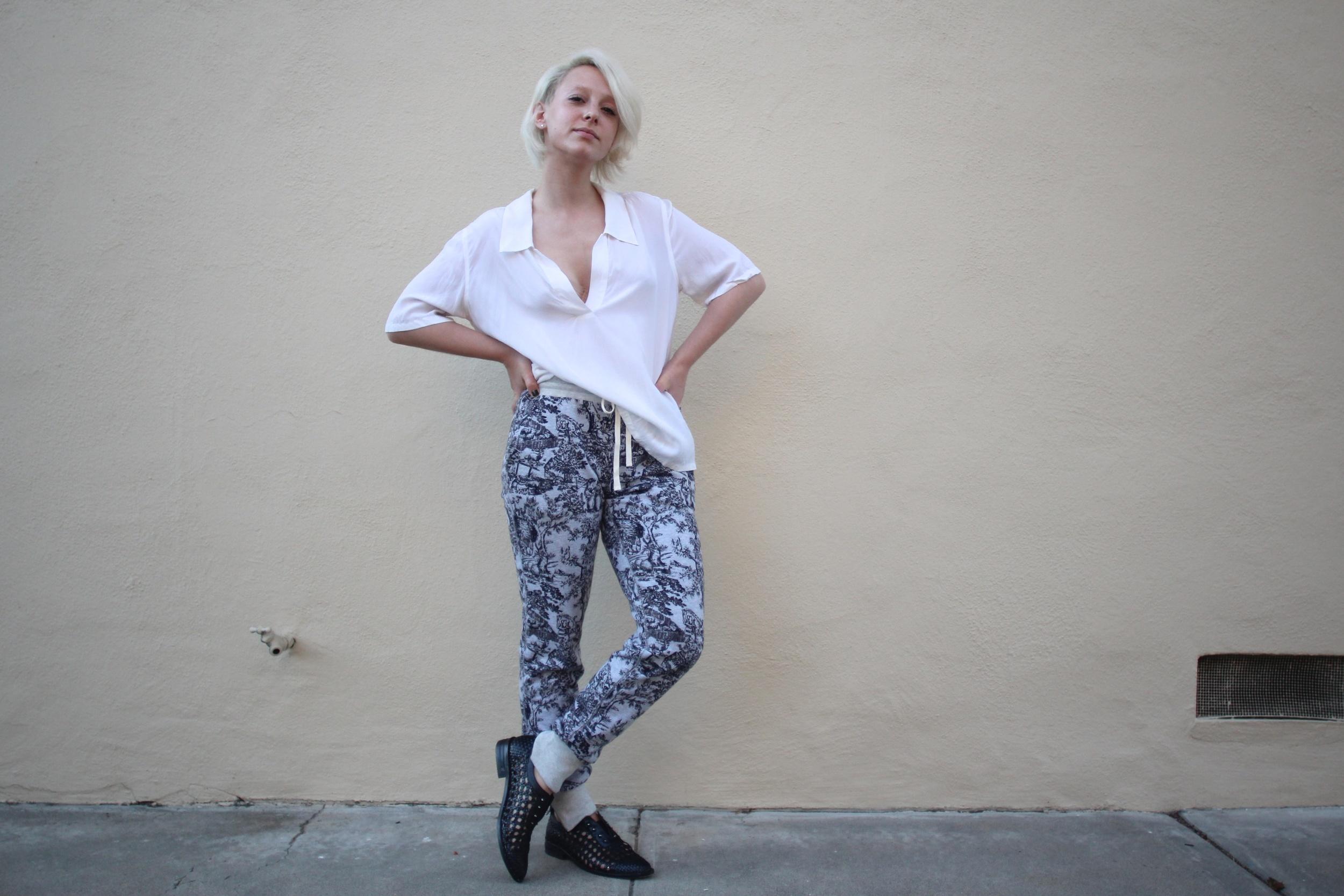 "Blouse:  Equipment , Toile Sweatpants:  J.Crew , Shoes: Freda Salvador  ""Wish"""