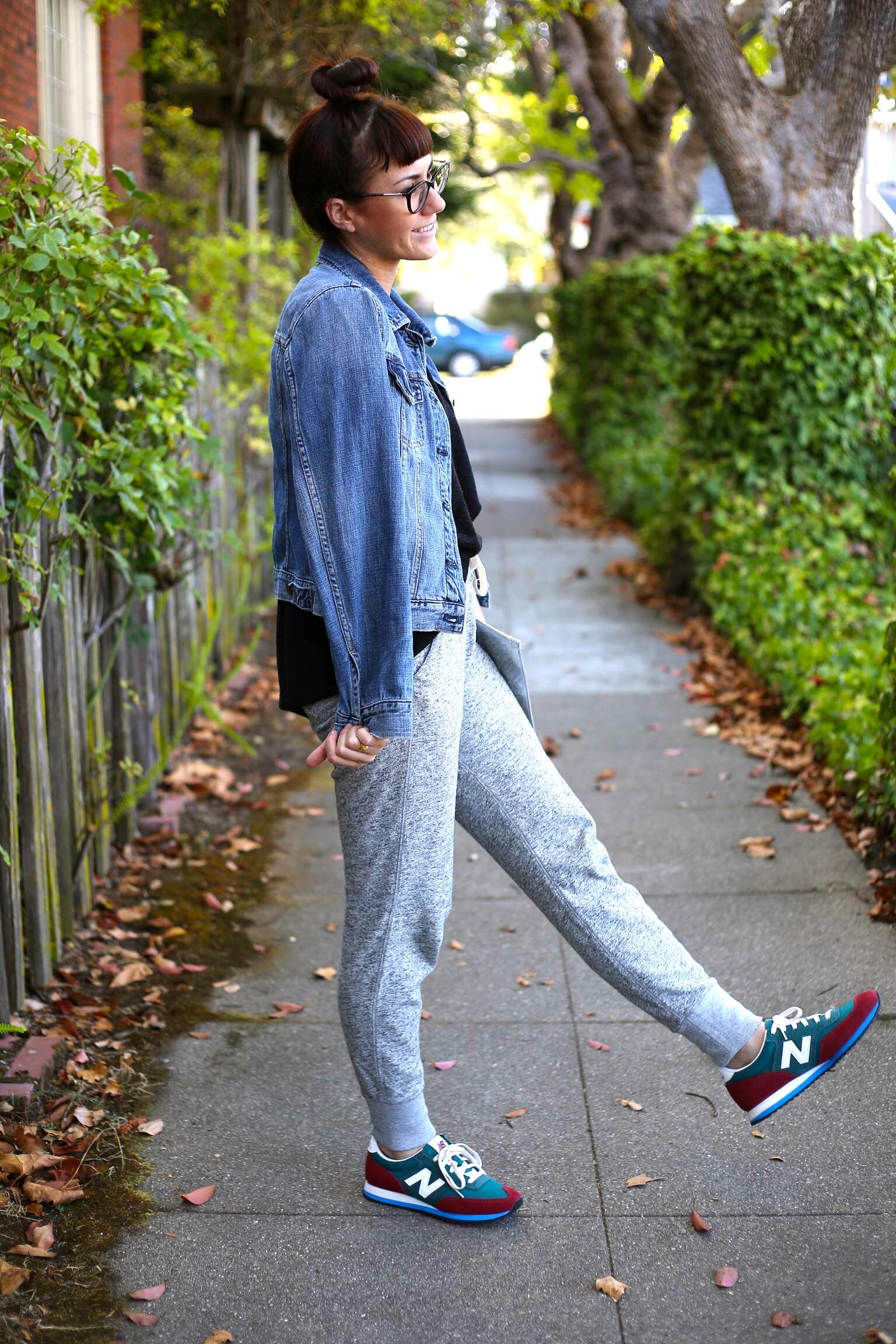 Sweater:  Jigsaw London  (Now on SUPER SALE); Jacket & Sweats: J.Crew; Sneakers:  New Balance, J.Crew ; Clutch: H&M