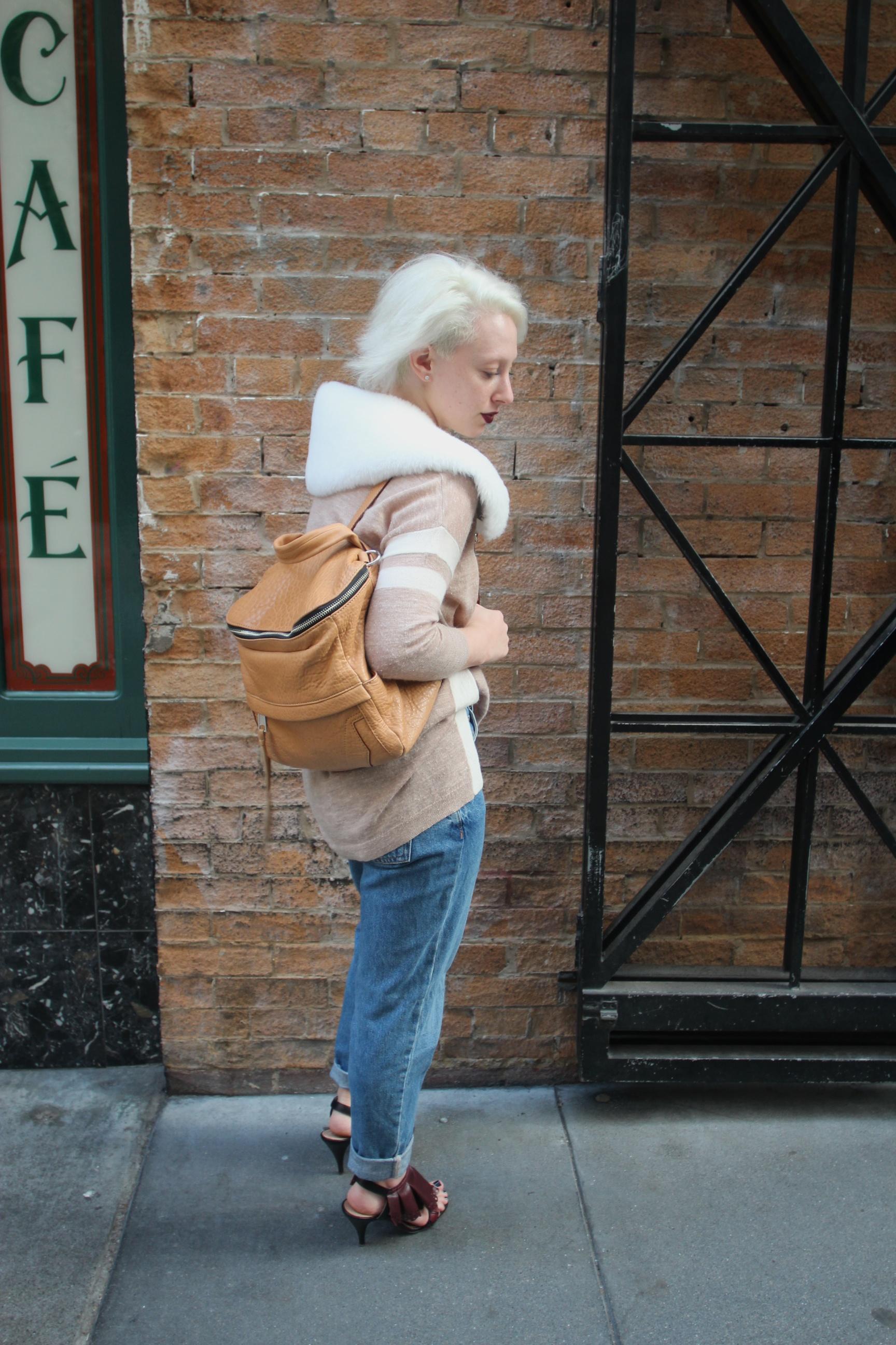 "Sweater: J.Crew, Denim:  Topshop ""Mom Jean"" , Shoes: Nina Ricci, Backpack:  Rebecca Minkoff , Shearling Epaulette:  The Podolls"