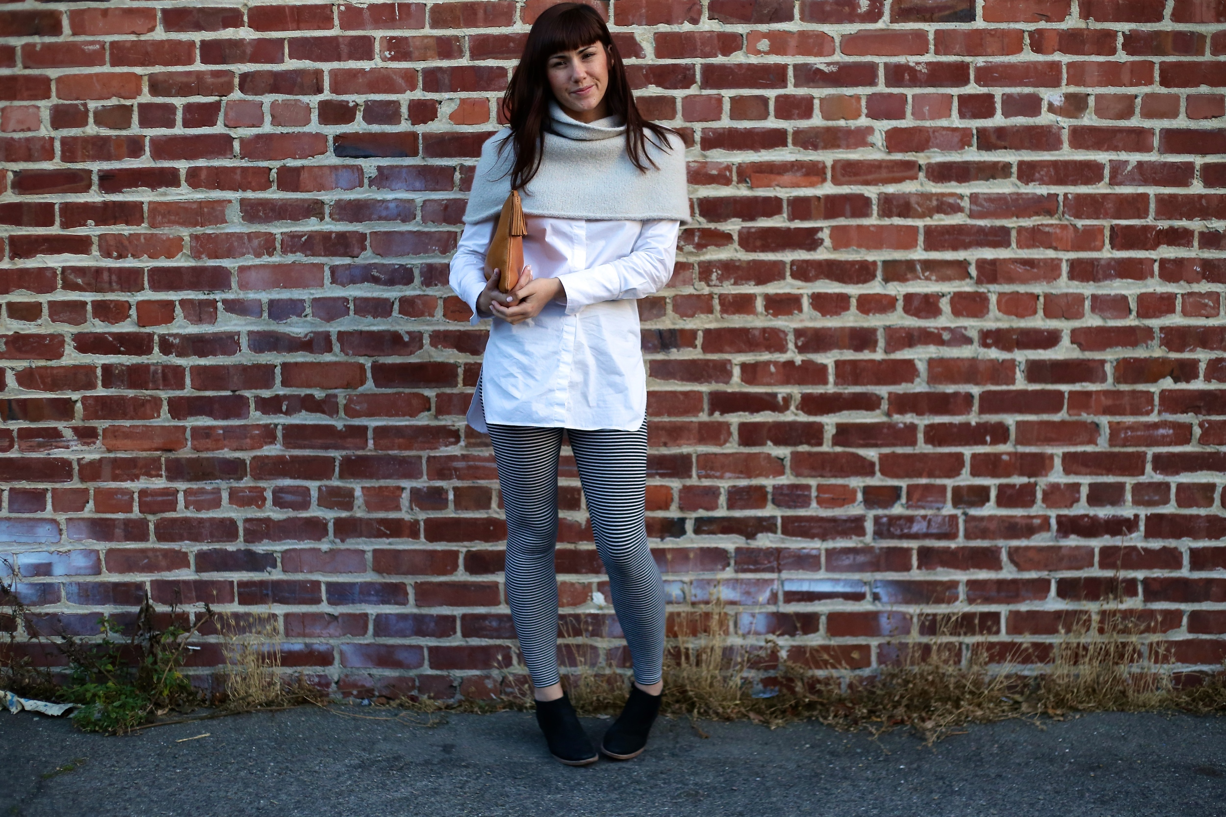 Bottle Shoulder Shrug: Lauren Manoogian,  The Podolls ; Button Up:  J.Crew ; Leggings: Uniqlo; Boots:  Jigsaw London ; Clutch: Madewell