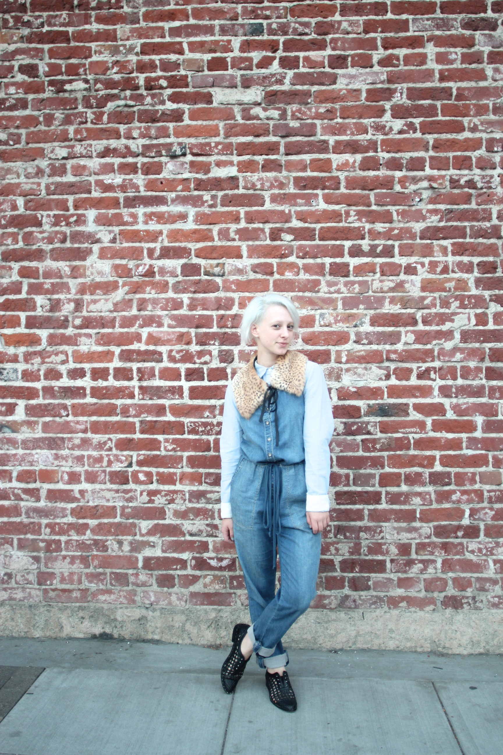 Overalls: Holding Horses via  Anthropologie , Shirt: H&M, Shoes:  Freda Salvador , Epaulette:  The Podolls