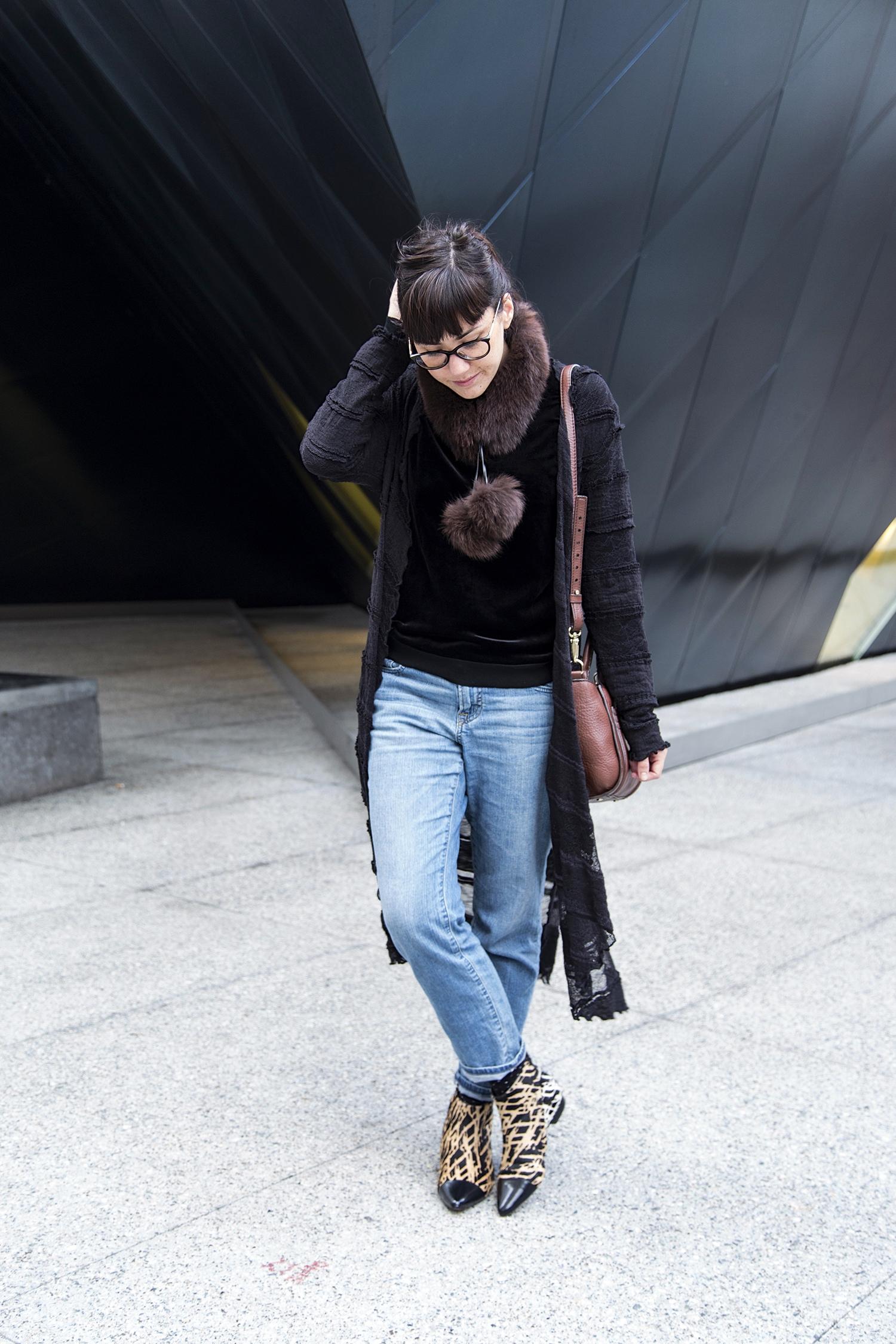 Lace Duster, Bare Necessities (an itty bitty boutique); Velvet Sweater:  Jigsaw London ; Boyfriend Jeans:  Uniqlo ; Bag: Kate Spade; Austin Boot: 10 Crosby by Derek Lam, via Marshalls; Fur Collar, Vintage