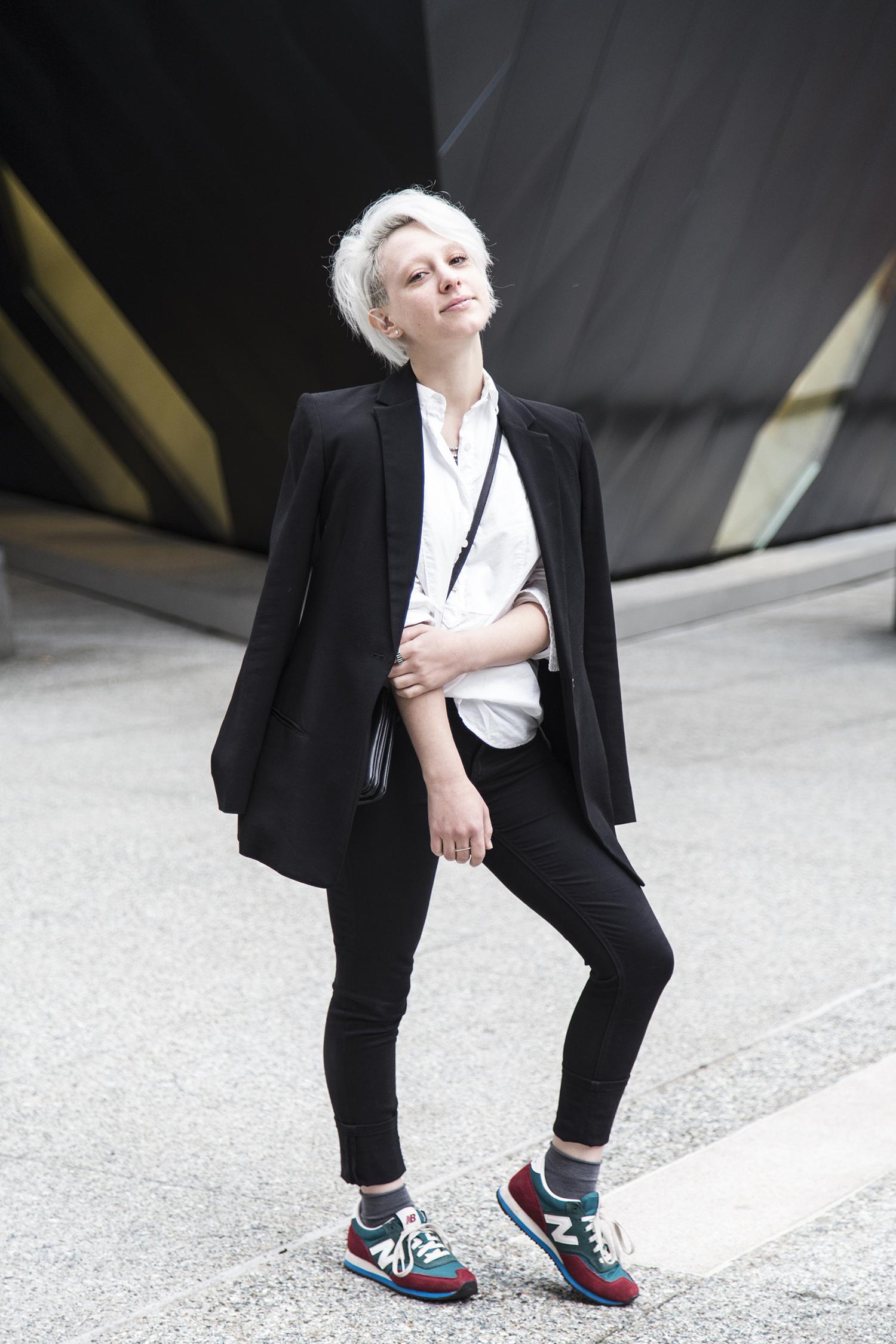 Blazer: T by Alexander Wang, Shirt:  J. Crew , Pants:  Babaton , Socks: Philippe Matignon, Shoes: New Balance, Bag: Celine