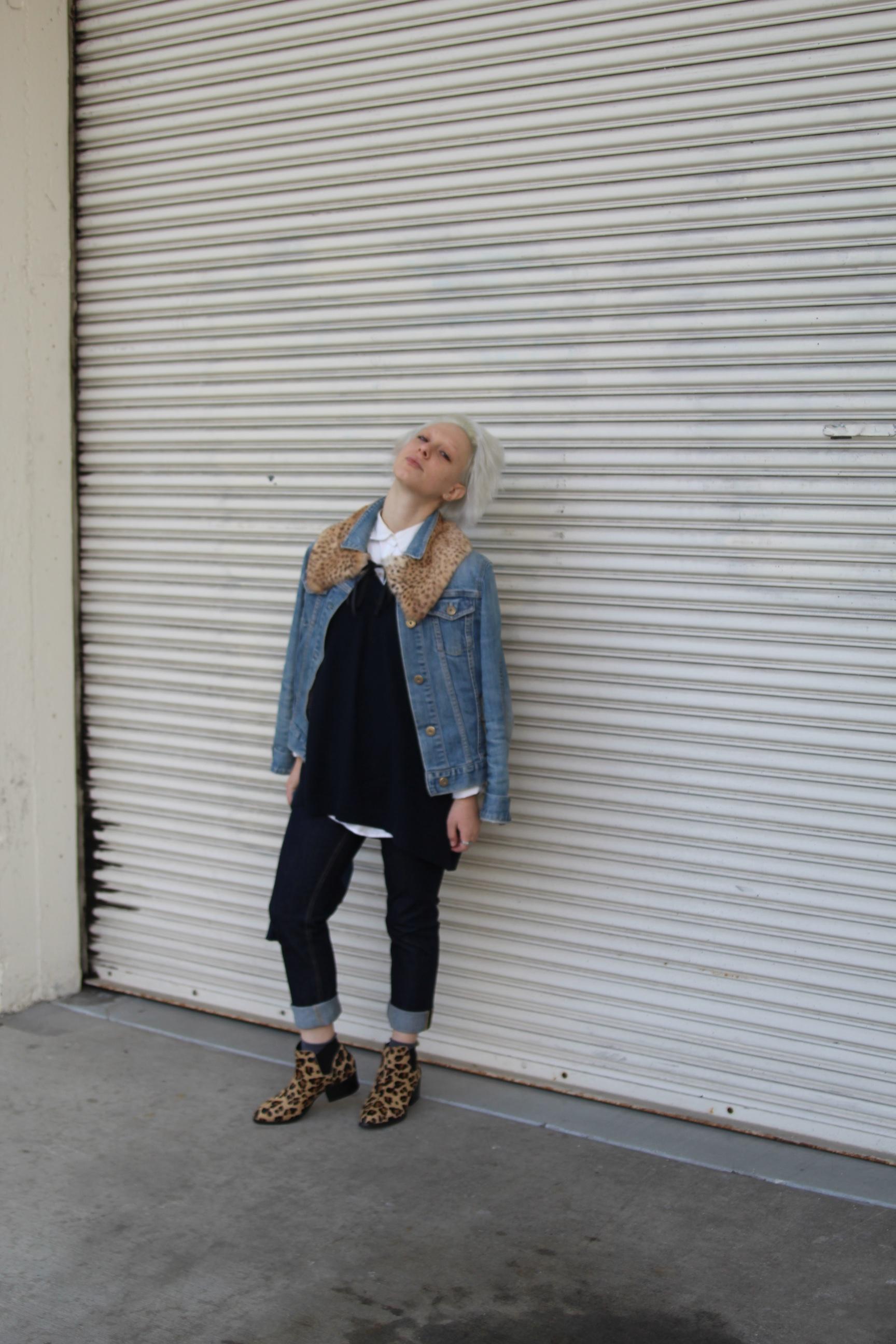 Denim Jacket: Gap (vintage), Epaulette:  The Podolls , Shirt:  J. Crew , Sweater:  Jigsaw London , Jeans:  Acne Studios , Socks: Philippe Matignon, Shoes: Steve Madden via  DSW , Clutch: Lofti via  Legion SF
