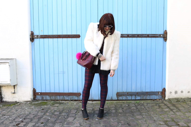 Fur Jacket: Vintage;  Sweater  and Boots: Jigsaw London; Turtleneck: GAP;  Leggings : Topshop; Sunglasses: Illesteva, c/o  Ditto