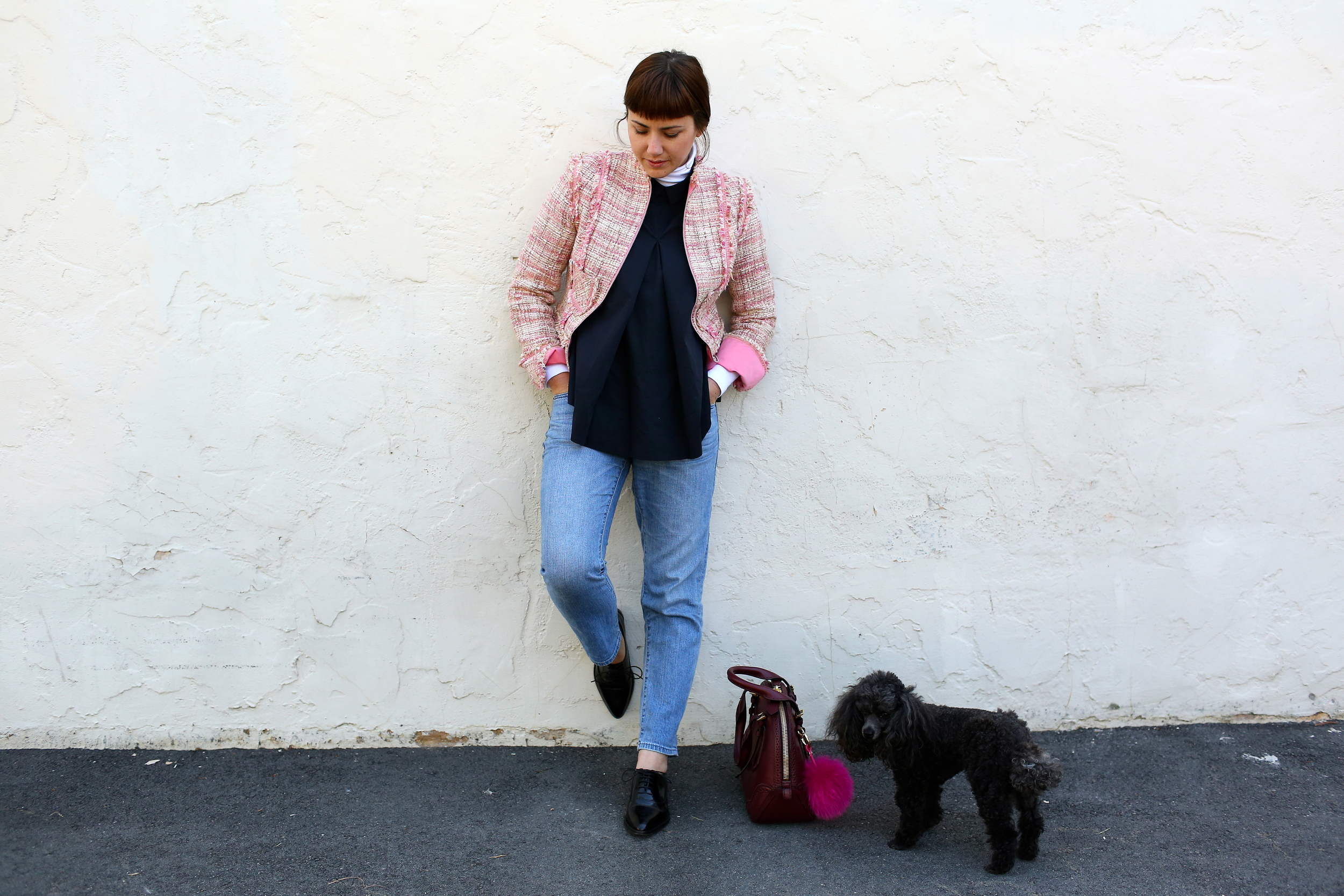 Jacket: Charles Chang Lima, vintage; Turtleneck: Gap; Blouse: COS; Boyfriend Jeans: Uniqlo; Oxfords: Jonak