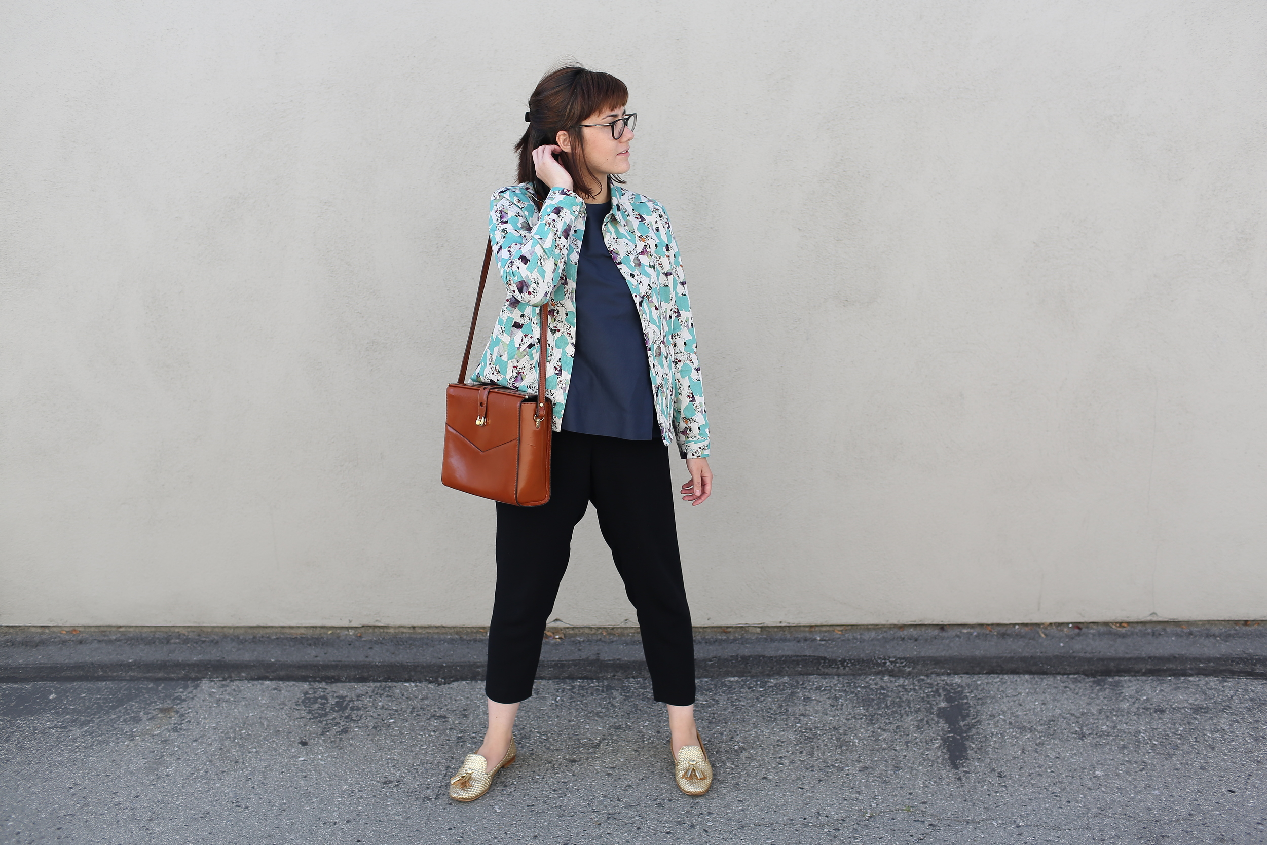 Jacket: COS (similar  here ); Blouse: COS (similar  here ); Pants: Jigsaw London (similar  here ); Metallic Loafers: Prada (similar  here ); Bag: Vintage (similar  here )