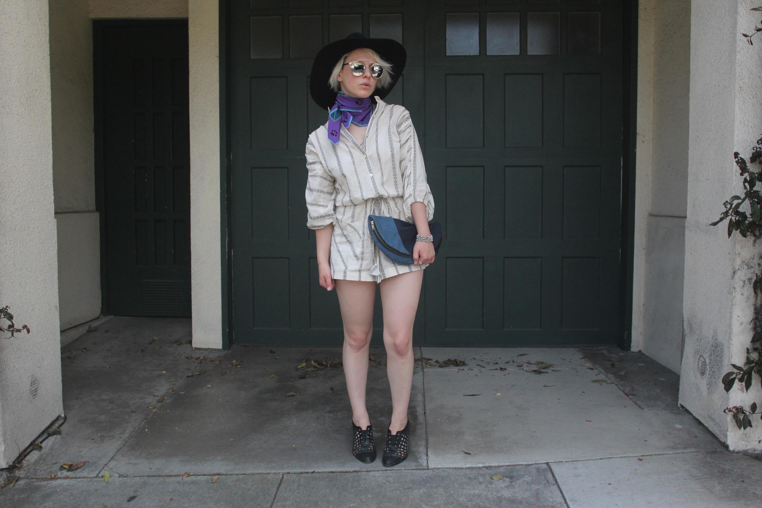 Hat: Ryan Roche, Sunglasses:  Dior , Scarf: Vintage, Romper: The Podolls, Clutch: Lofti via  LegionSF , Shoes:  Freda Salvador