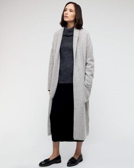 Rib Collar Wool Coat