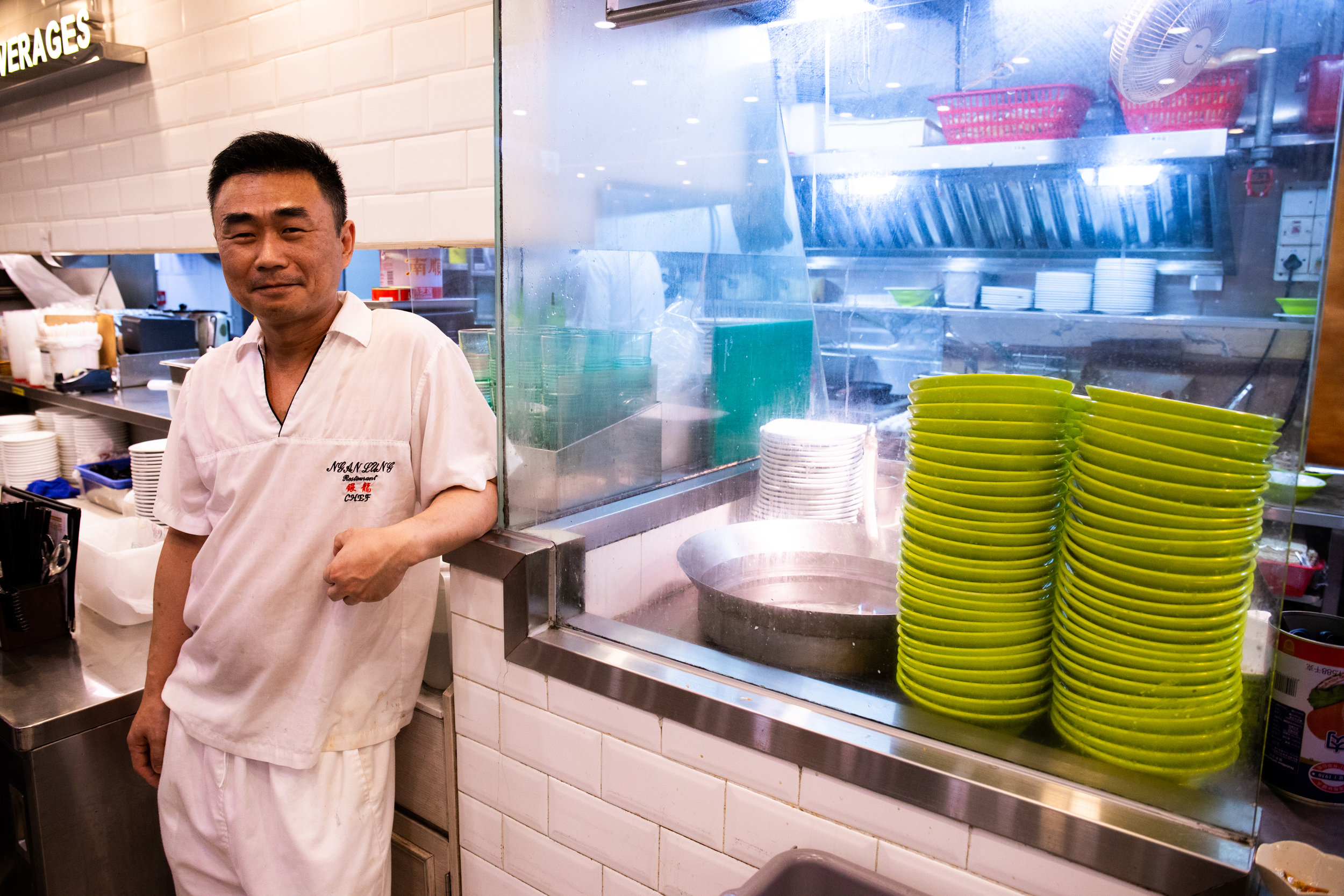 The Chef of Ngan Lung Restaurant. These Diners are steadfastly holding on despite a growing homogenization of Hong Kong culture. Through traditional comfort food and milk tea they are an example of the Living Heritage of Hong Kong.