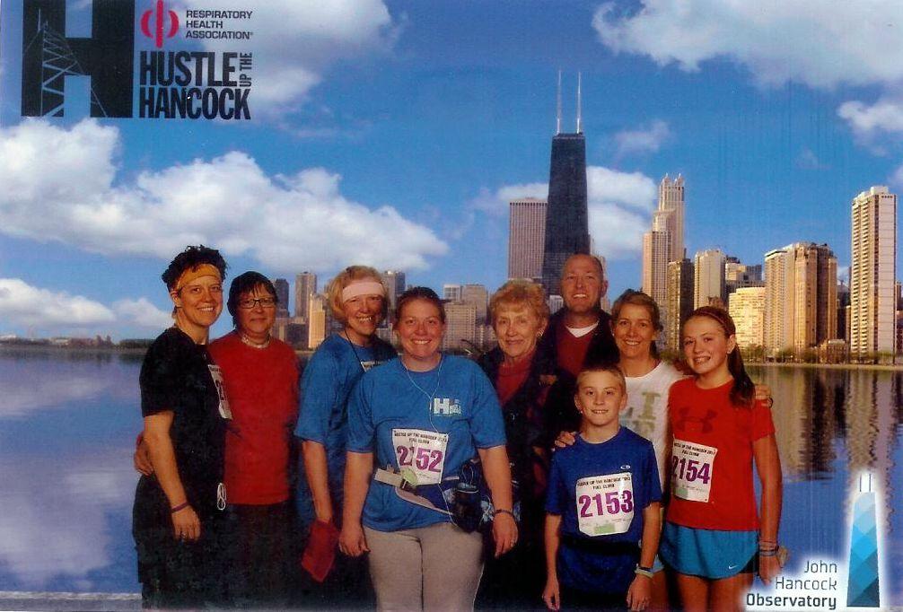 From left: Tracy, Deb, Ann, Maggie, Mary K, Bob, John, Megan, Kate