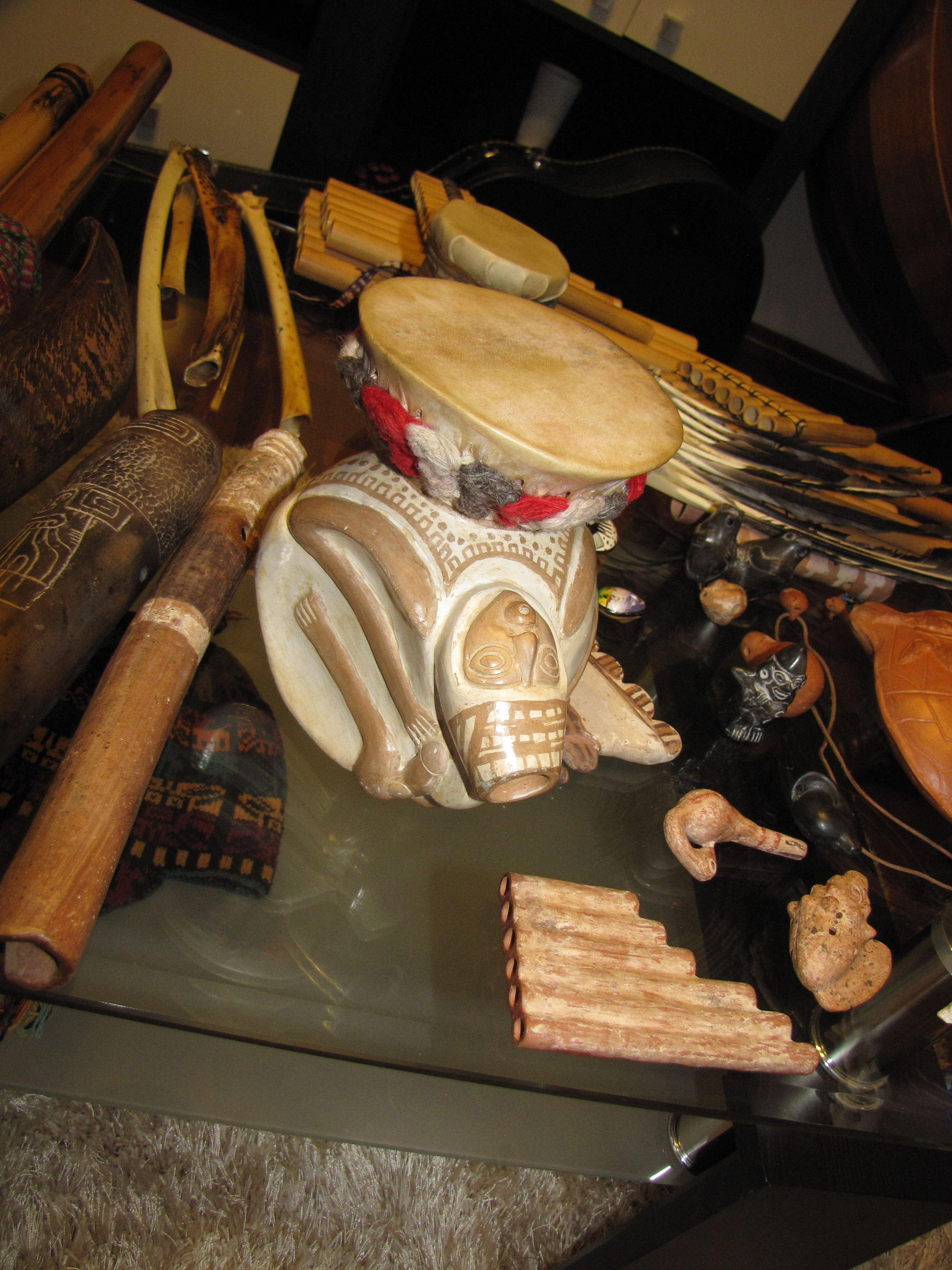 A beautiful clay drum and other instruments
