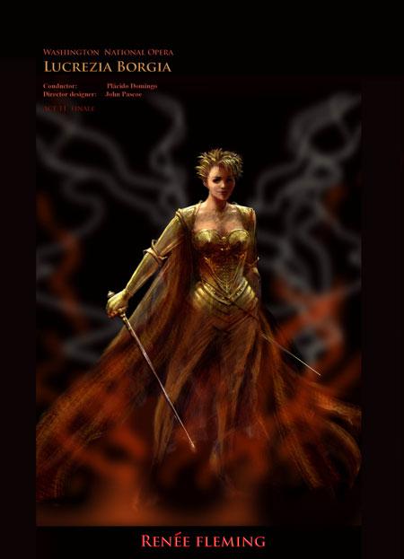 Renee Fleming in Barbarella costume