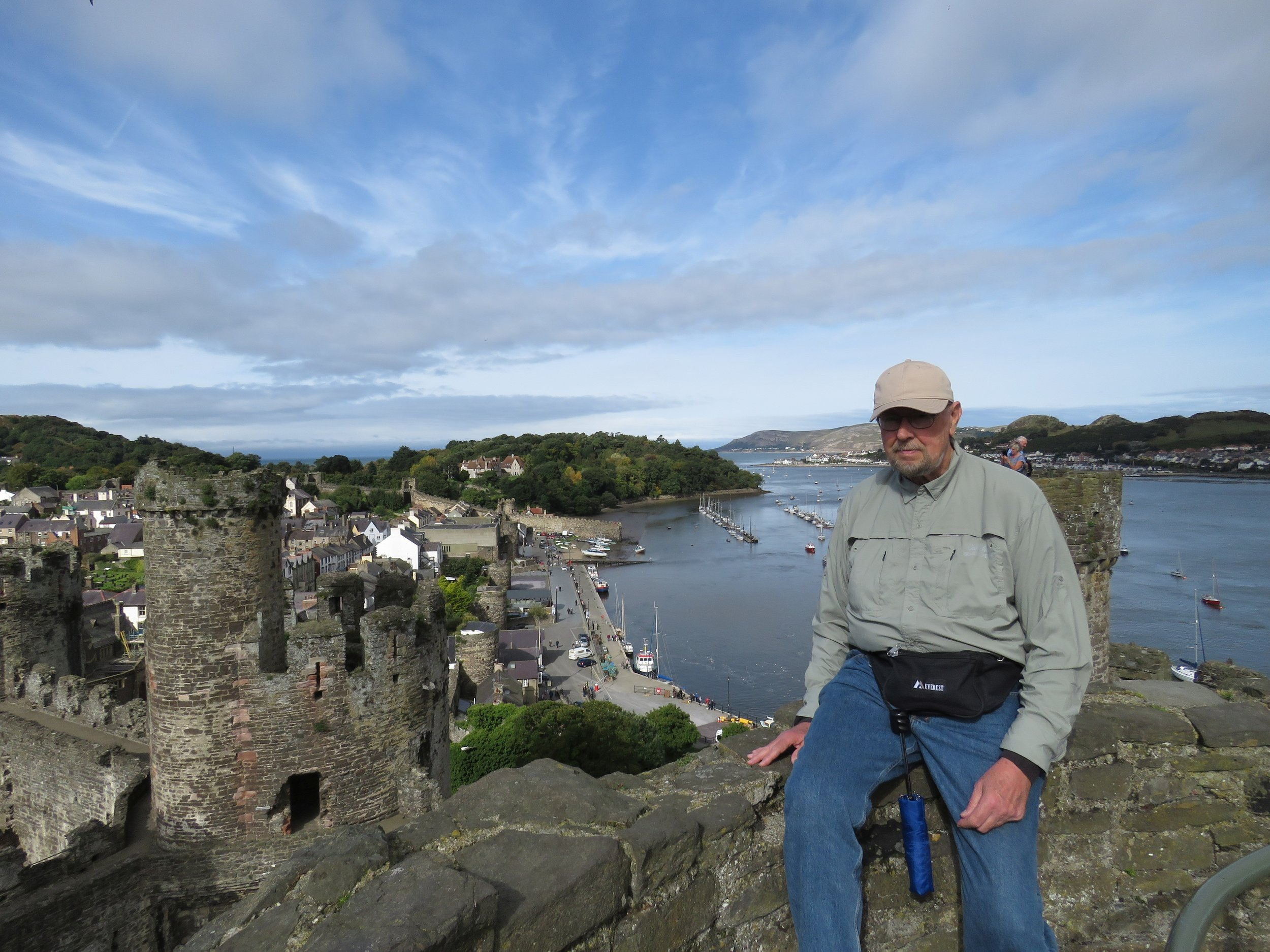 Ed on a tower wall overlooking the harbor