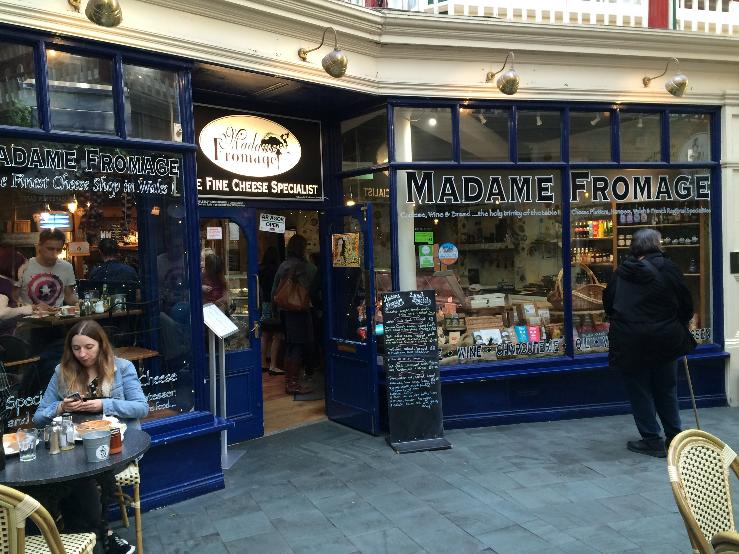 Cheese shop and cafe in the Queen's Arcade, Cardiff - more photos follow the post