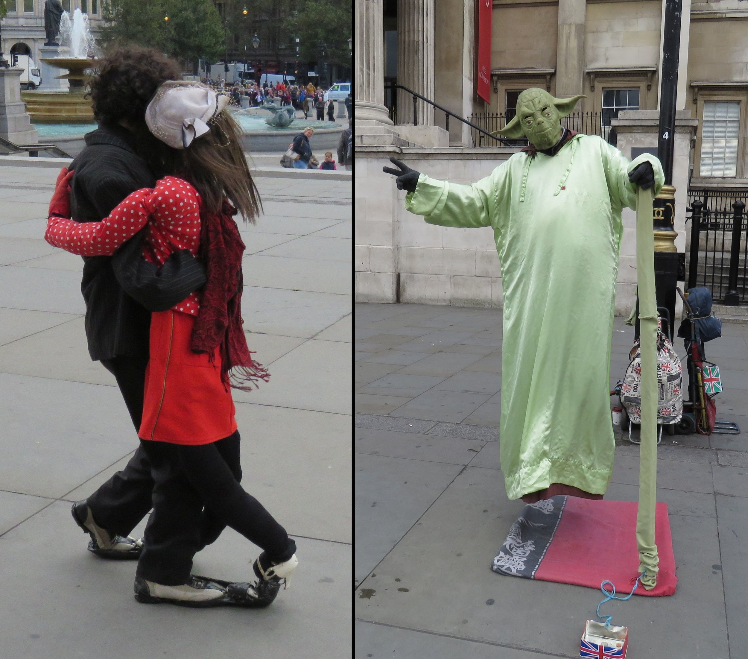 Buskers in front of the National Gallery.  I still can't figure out how Yoda is supported.