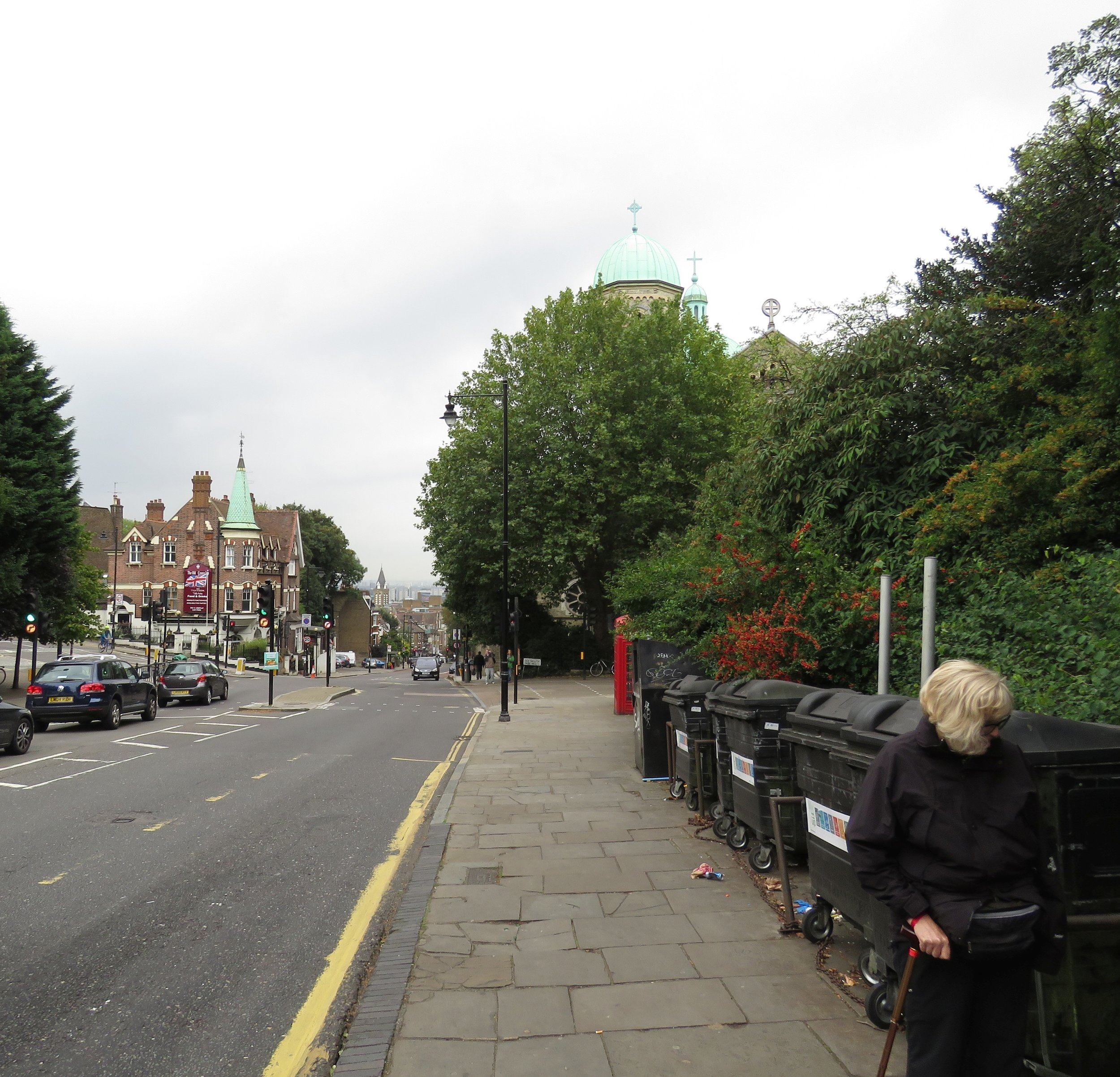 Walking up and up Highgate Street.  You can barely see the City of London in the distance at the bottom of the street.