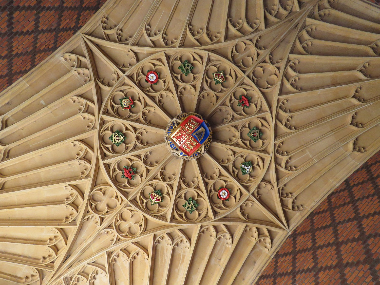 Ceiling of the main entrance gatehouse.  Most of the rooms from Henry's time have magnificent carved wooden ceilings.