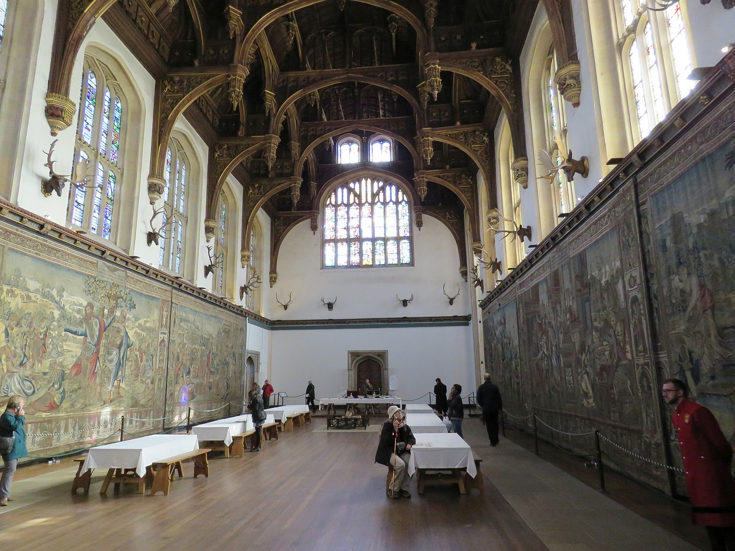 Henry's Great Hall, surrounded with huge Flemish tapestries.  This was where the staff and lesser visitors ate; the king usually dined in his quarters.