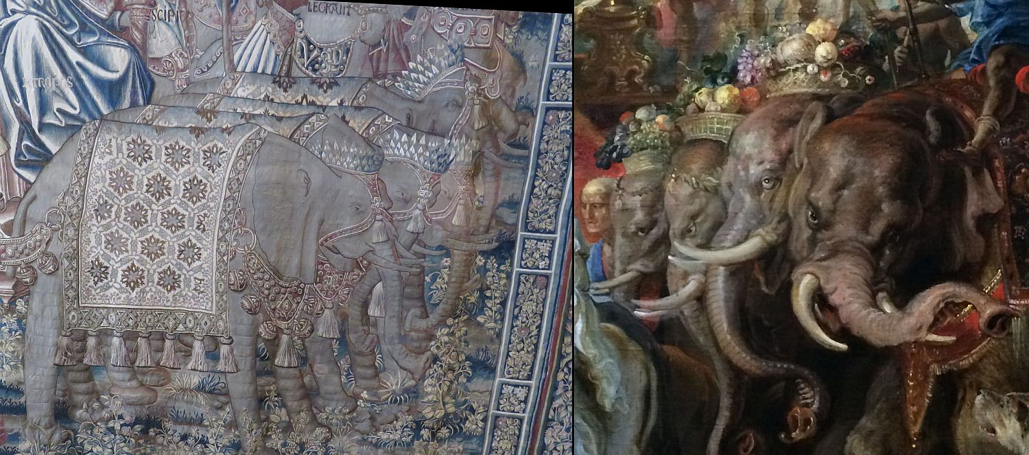 Elephants from one of the Flemish tapestries next to the elephants from a huge Rubens painting at the National. They were both created in the late 16th century.