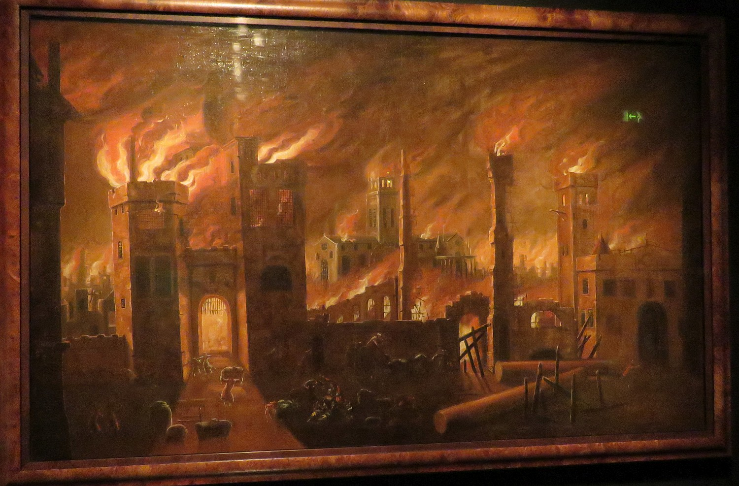 London burns - 1666.  Painting by Jan Griffier the Elder in 1675 shows Newgate in foreground with old St. Paul's burning in the back.  More photos follow the text.