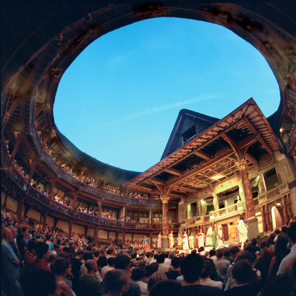 Interior of the theatre set for a more traditional play.