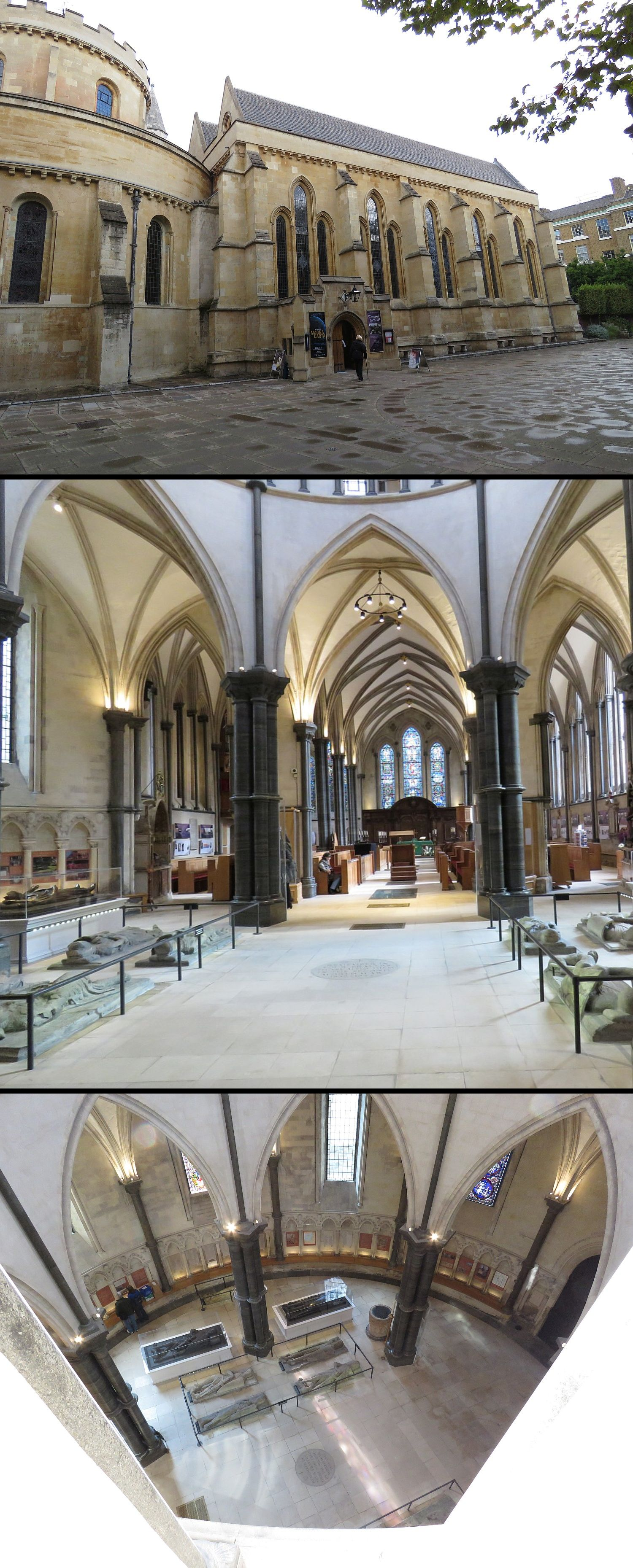 Temple Church, from top: outside, inside and view of the rotunda from the balcony shows graves of the Knights Templar.