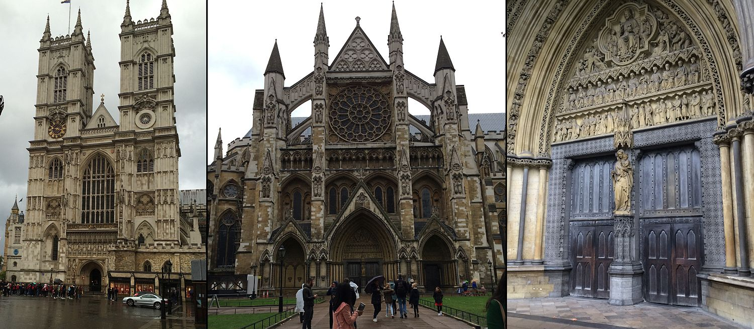 Facades of Westminster Abbey on a rainy Sunday