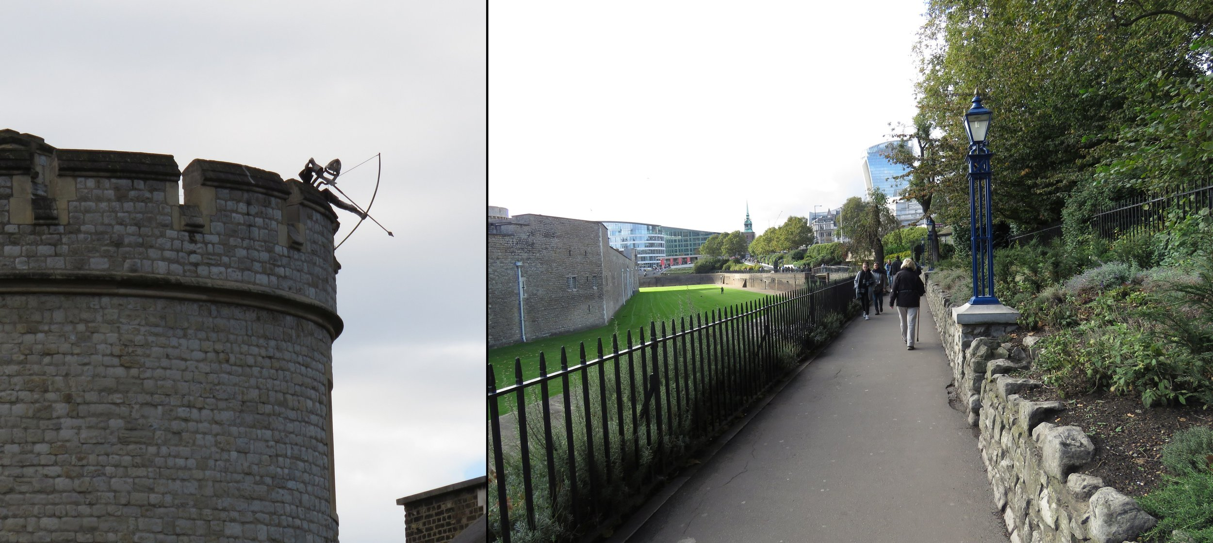 Beware the archer as you approach the Tower; walking alongside the old moat.
