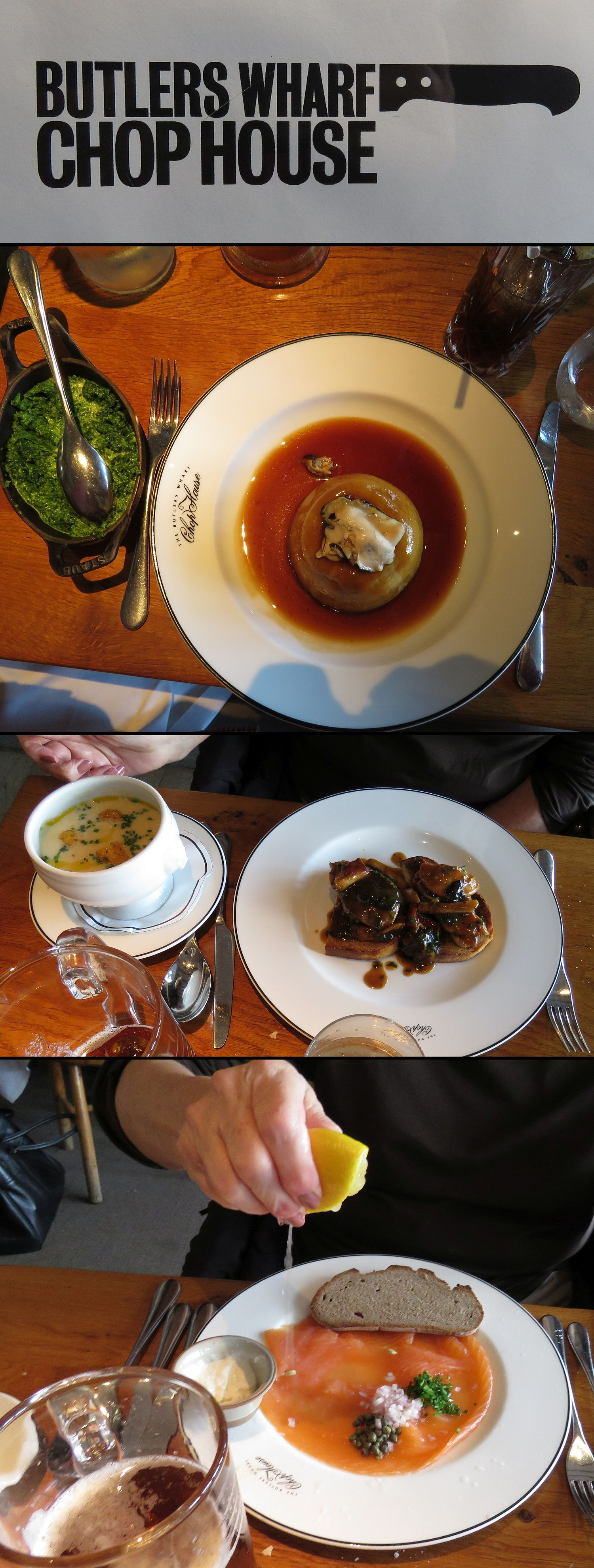 Steamed steak and kidney pudding with oysters and a side of creamed spinach, celeriac soup, wild mushrooms on toast, smoked salmon and a pint.