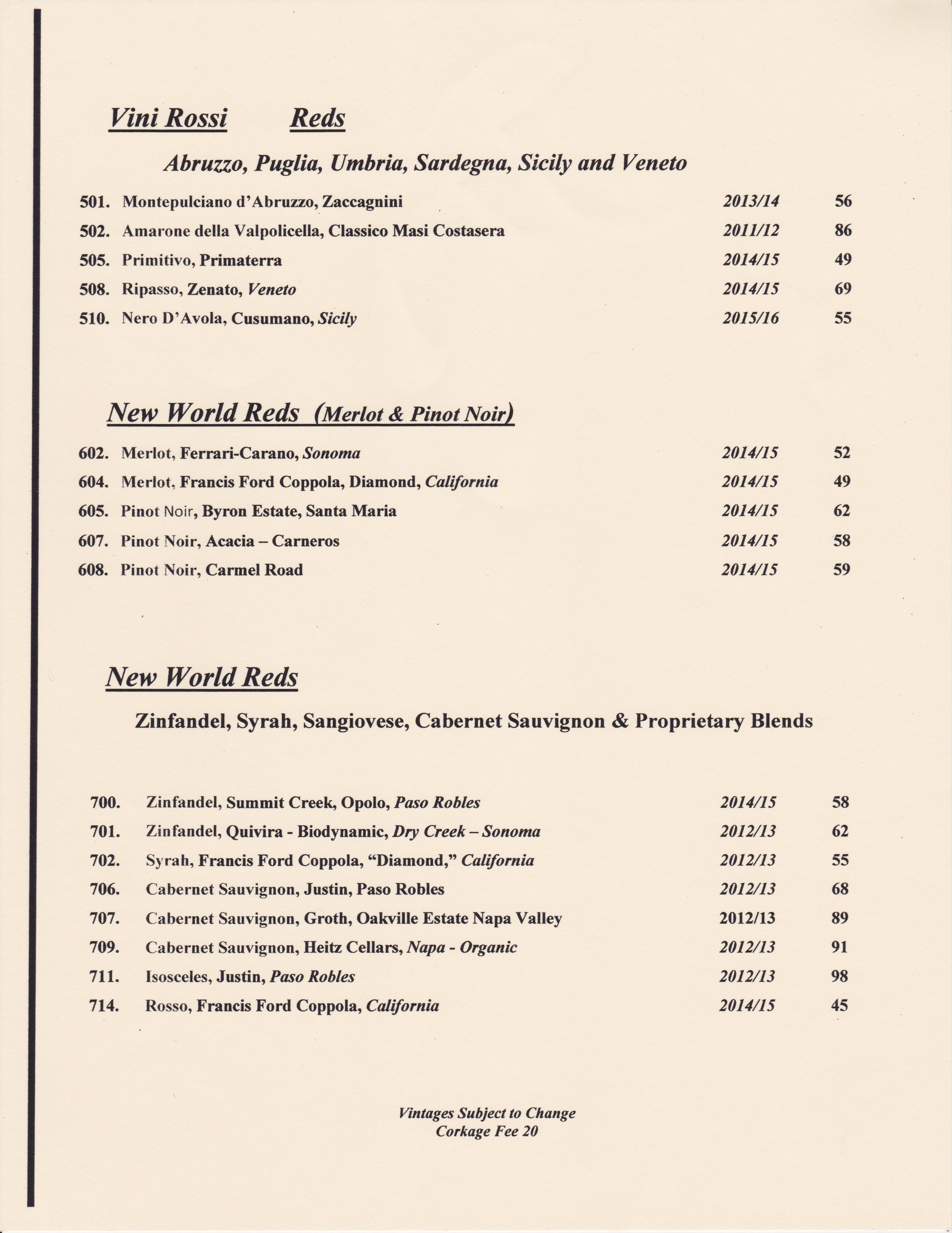 Vinoteca wine and beer bar wine menu featuring red wines
