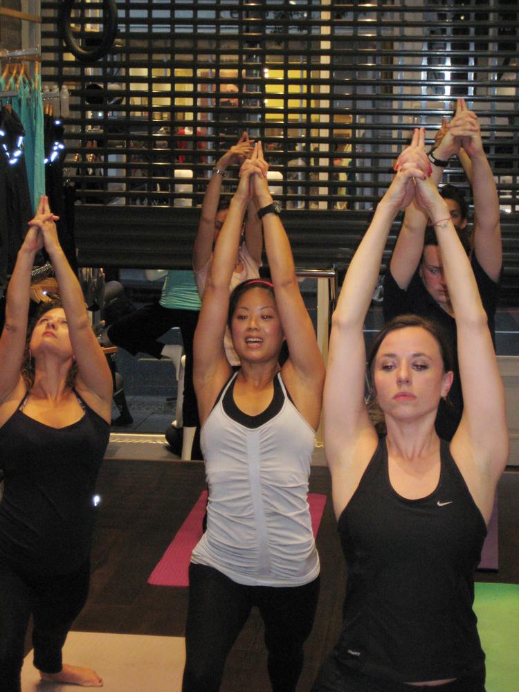 In-store yoga class at Sweaty Betty, London