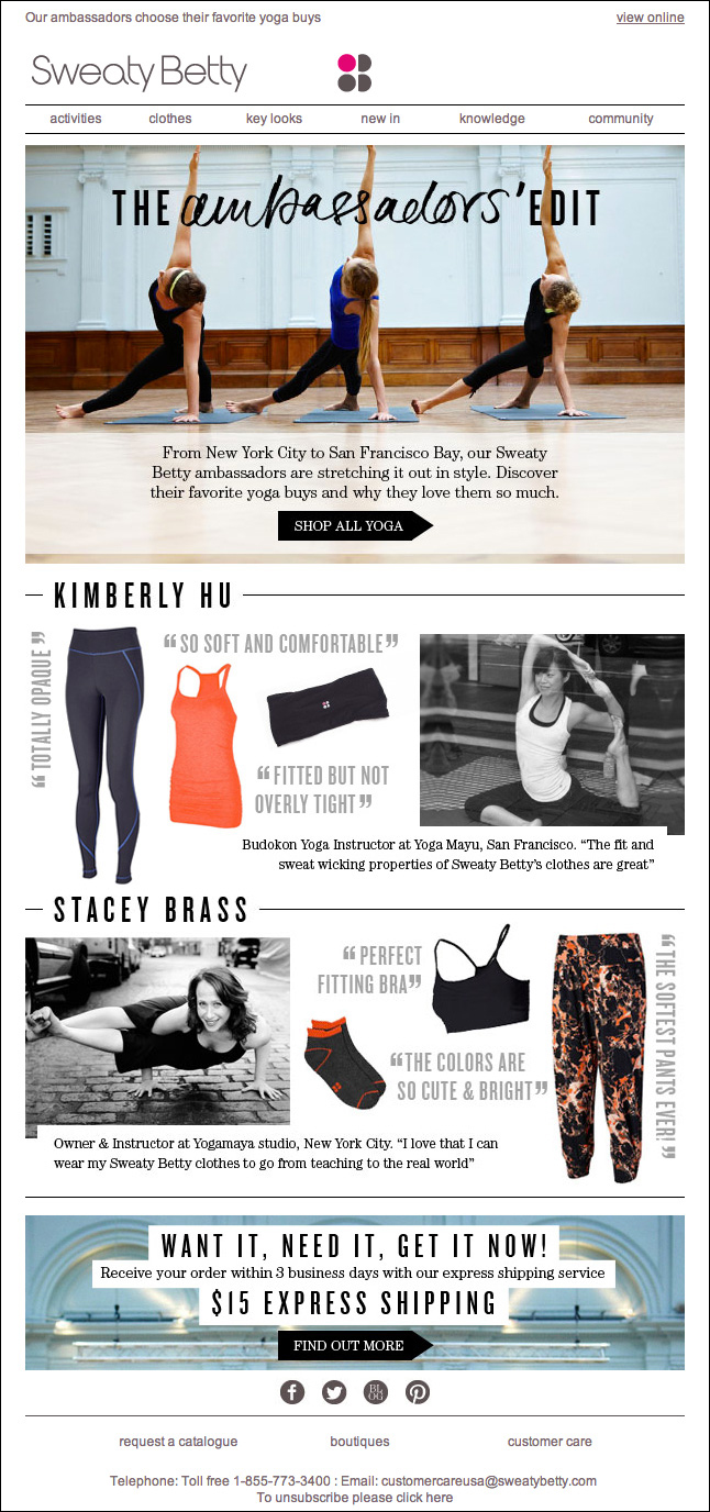 Sweaty  Betty Email Campaign Feature: The Ambassadors' Edit, April 2013