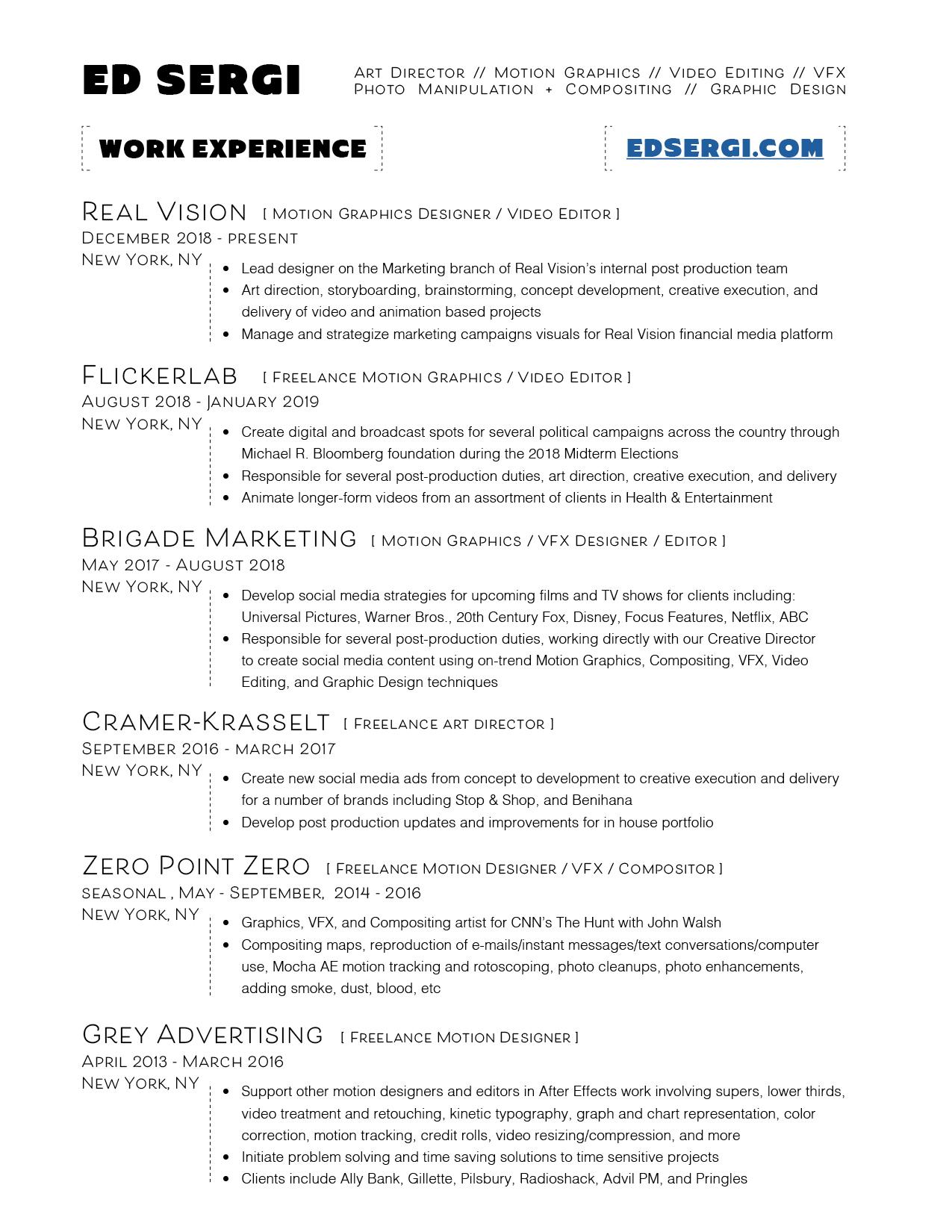 Resume — Ed Sergi