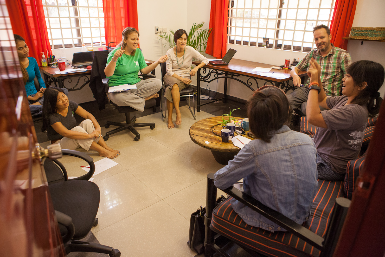 A recent story-telling circle in progress ... crafting a story on the topic of Fearlessness.