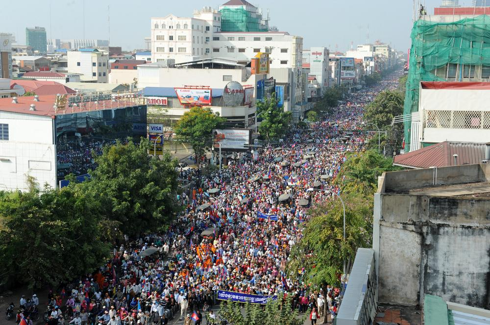December 29, 2013, marchers stretch out for kilometers through the city of Phnom Penh