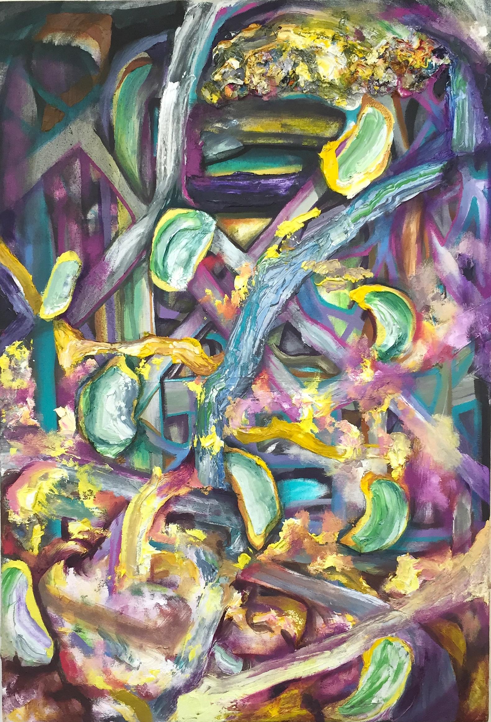 "Null Tumble, oil on canvas, 22"" x 36"", 2015"