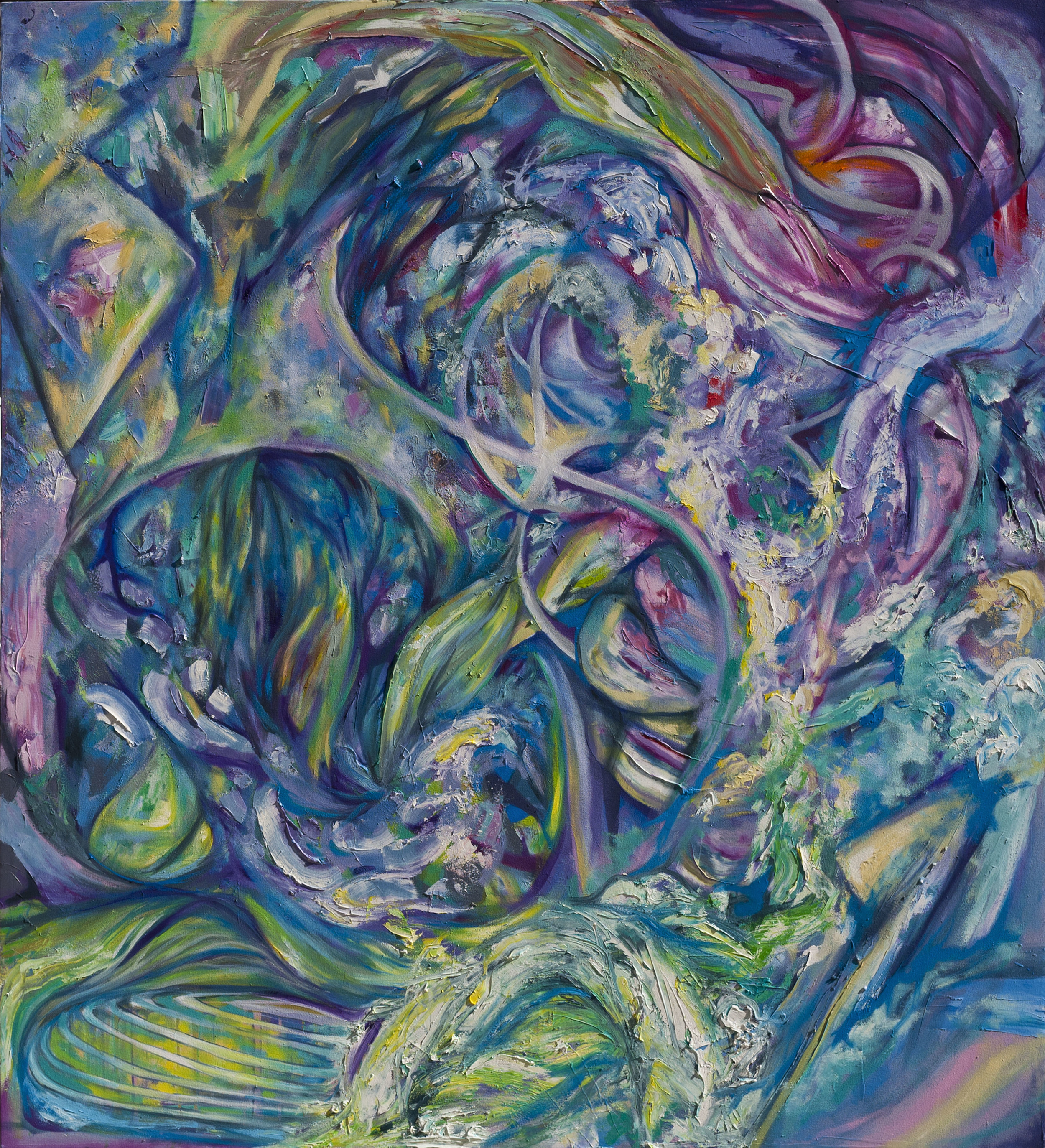 """Conflicted Flow, oil on canvas, 76"""" x 70"""", 2015"""
