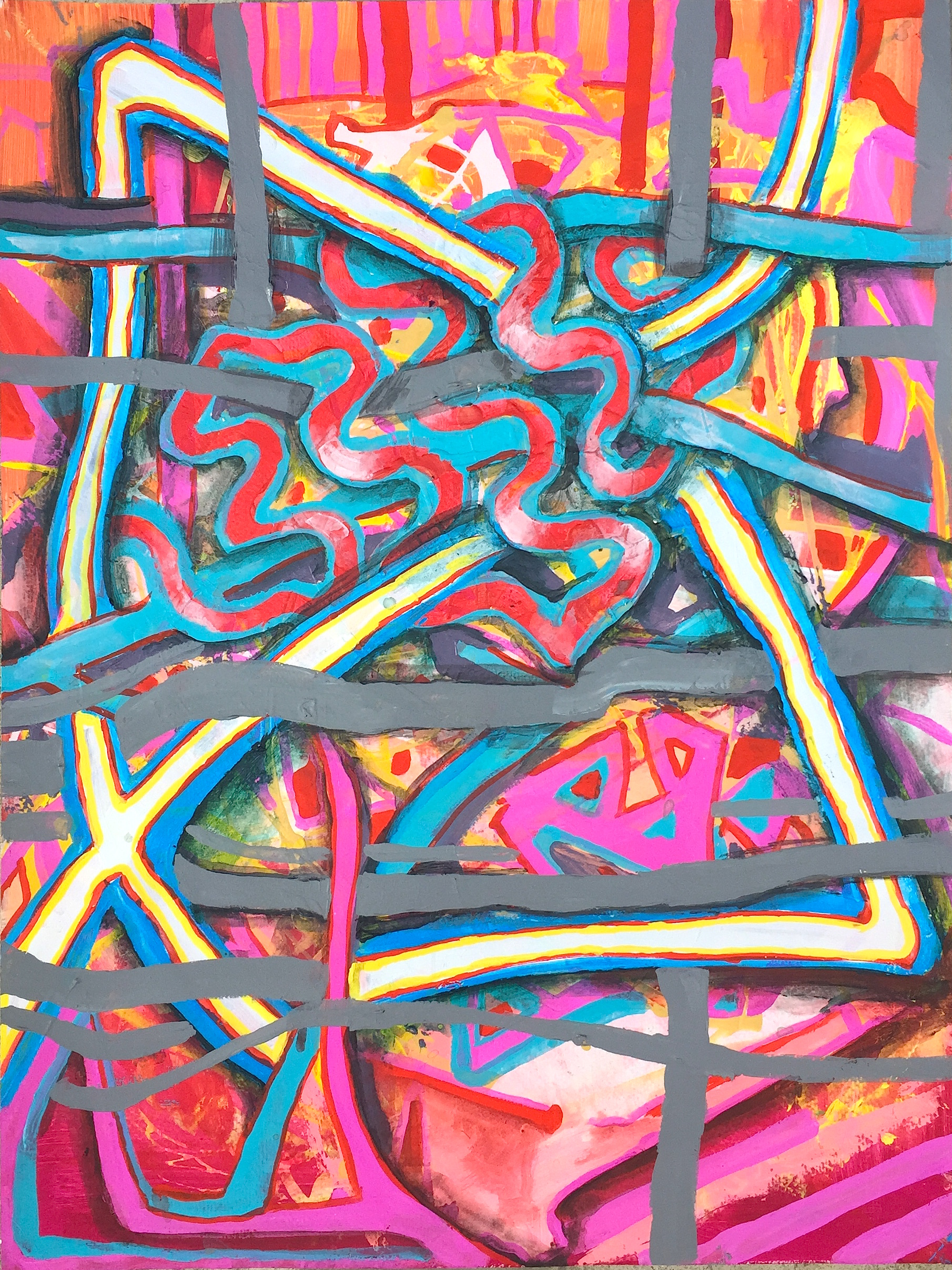 """Scrambled State, mixed media on paper, 24"""" x 18"""", 2015"""