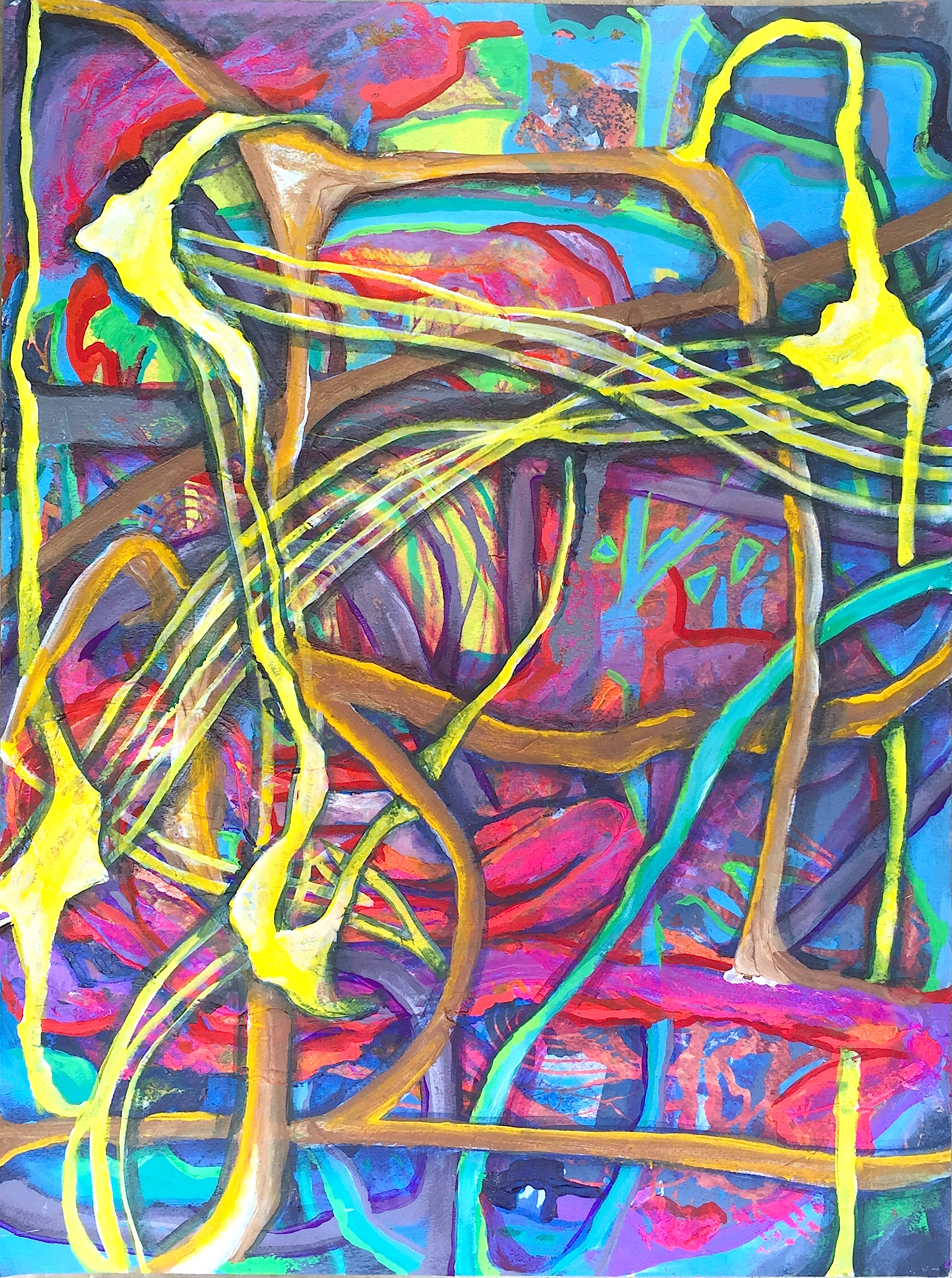 """Crossed Lines, mixed media on paper, 24"""" x 18"""", 2015"""