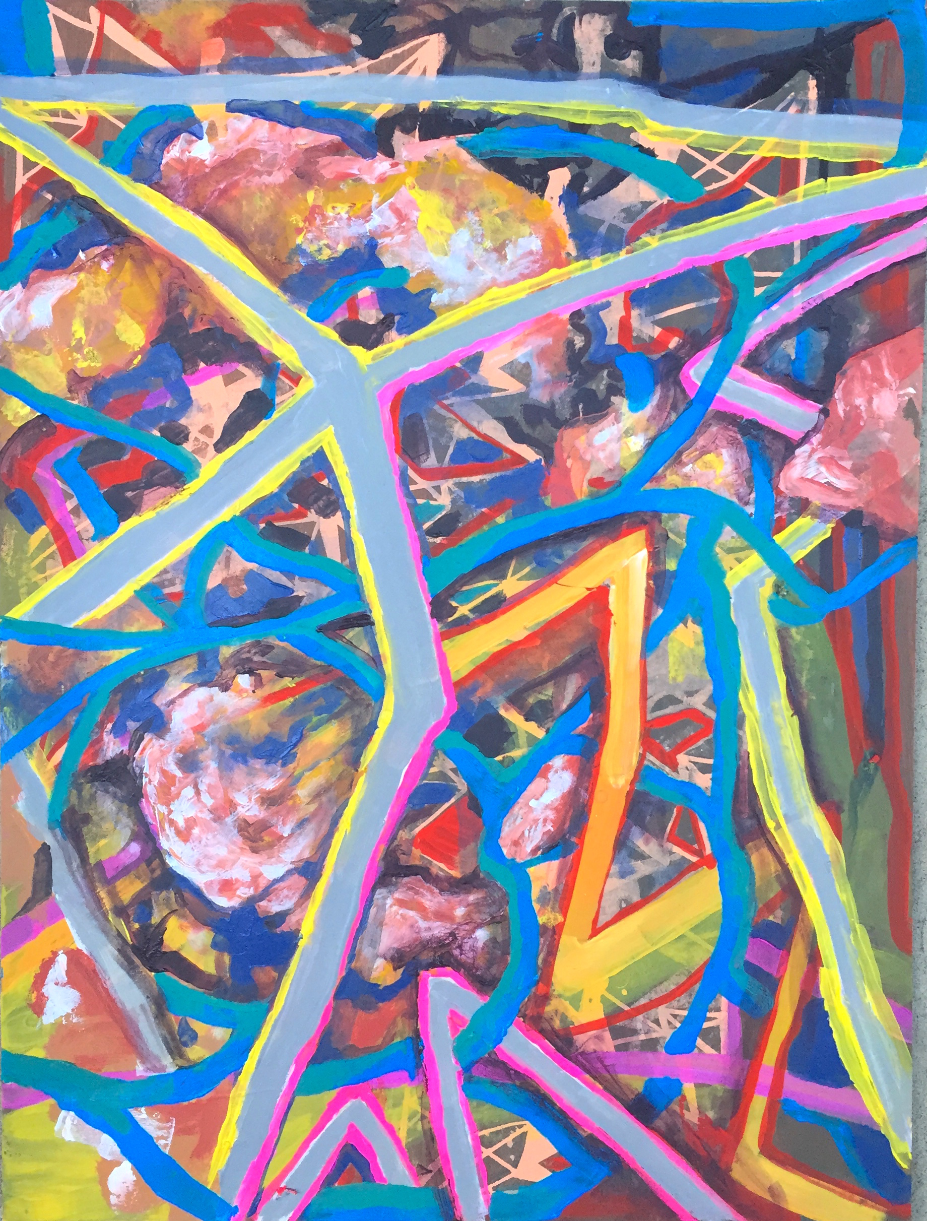 "Zipline Tangle, mixed media on paper, 24"" x 18"", 2015"