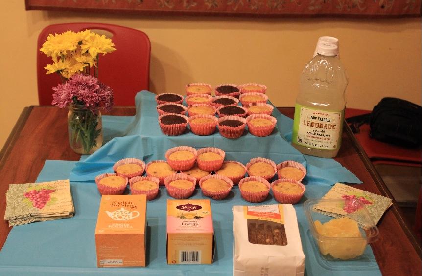 Healthy muffins, biscotti, lemonade, and women's health tea.