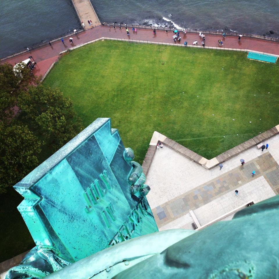 View from inside Lady Liberty's crown. If you're interested in seeing the statue from this vantage, sign up in advance! It took us three months to secure one of the limited spots!