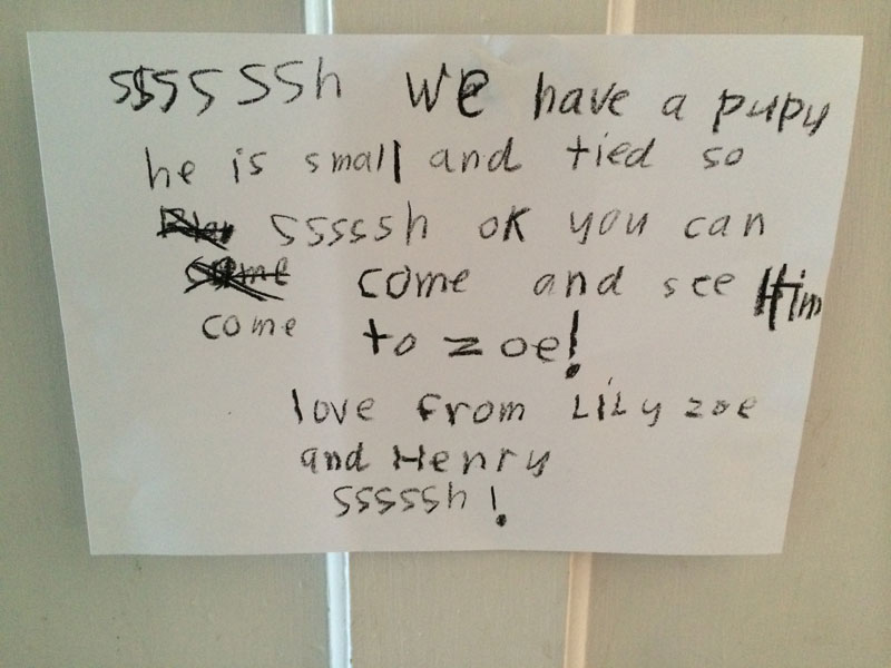 Zoe's sign that was put on our front door.